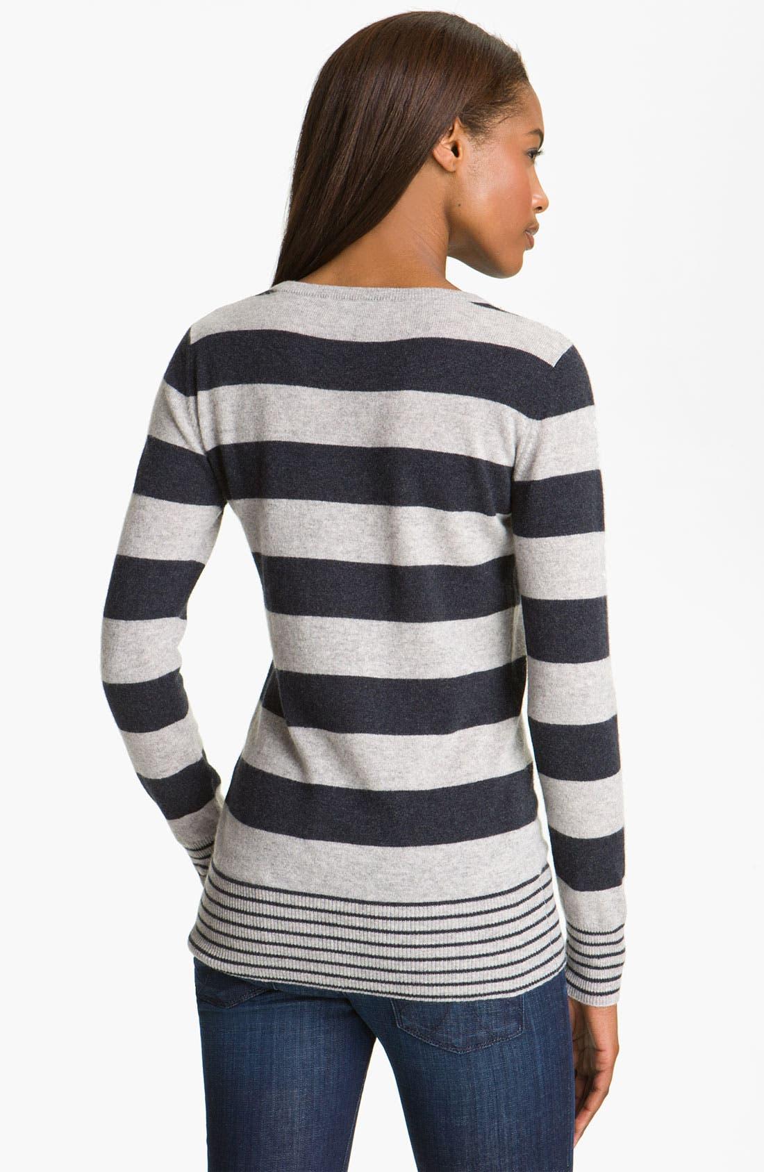 AUTUMN CASHMERE, Stripe Cashmere Sweatshirt, Alternate thumbnail 2, color, 051