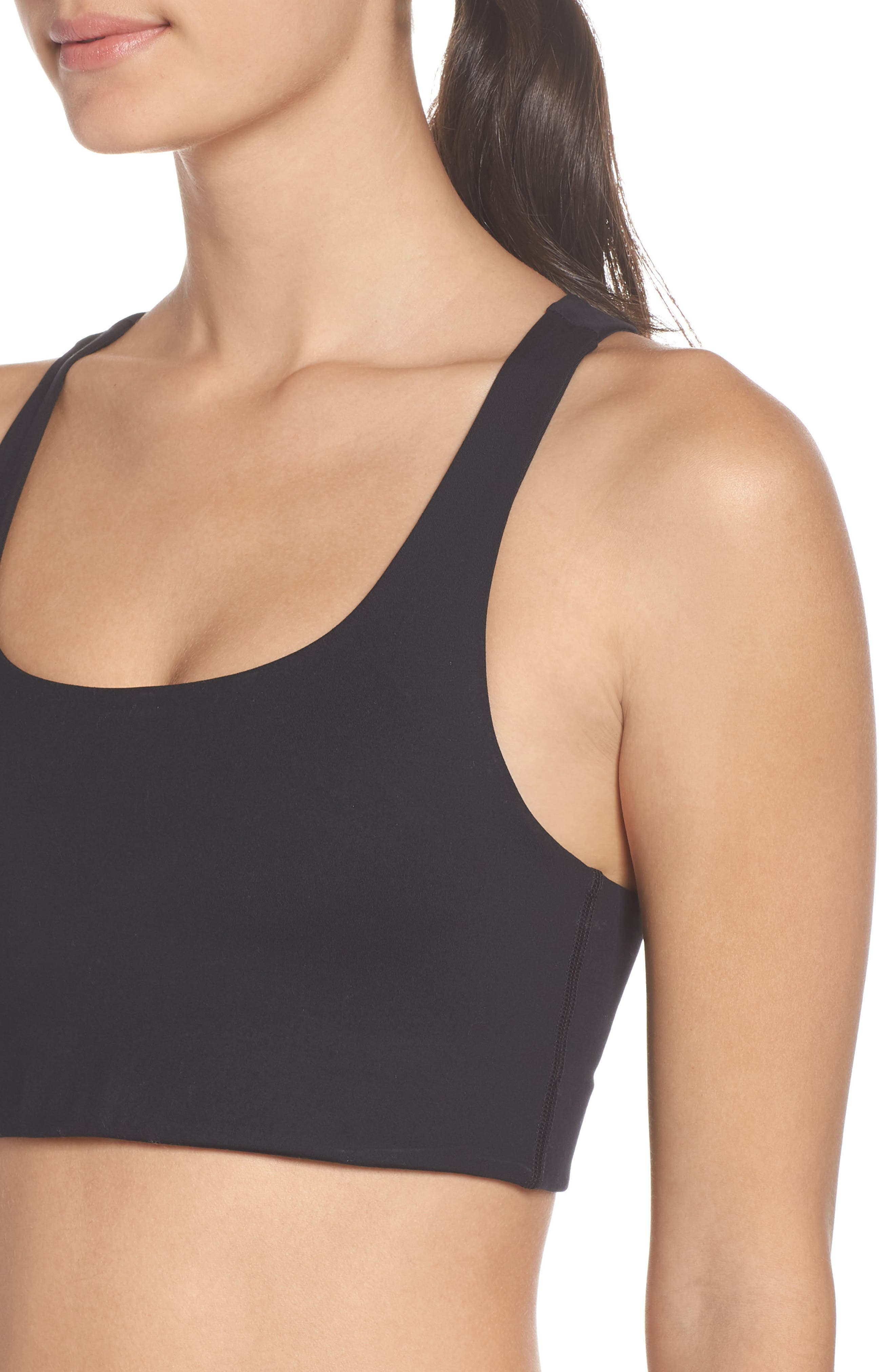 GIRLFRIEND COLLECTIVE, Cropped Paloma Sports Bra, Alternate thumbnail 6, color, 001