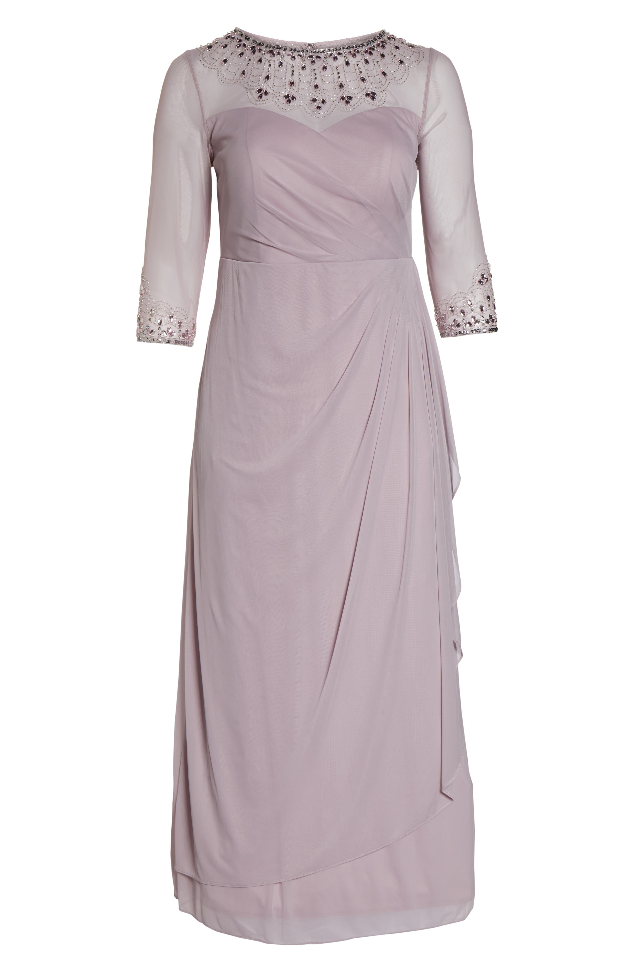 ALEX EVENINGS, Beaded Illusion Neck A-Line Gown, Alternate thumbnail 7, color, SMOKEY ORCHID