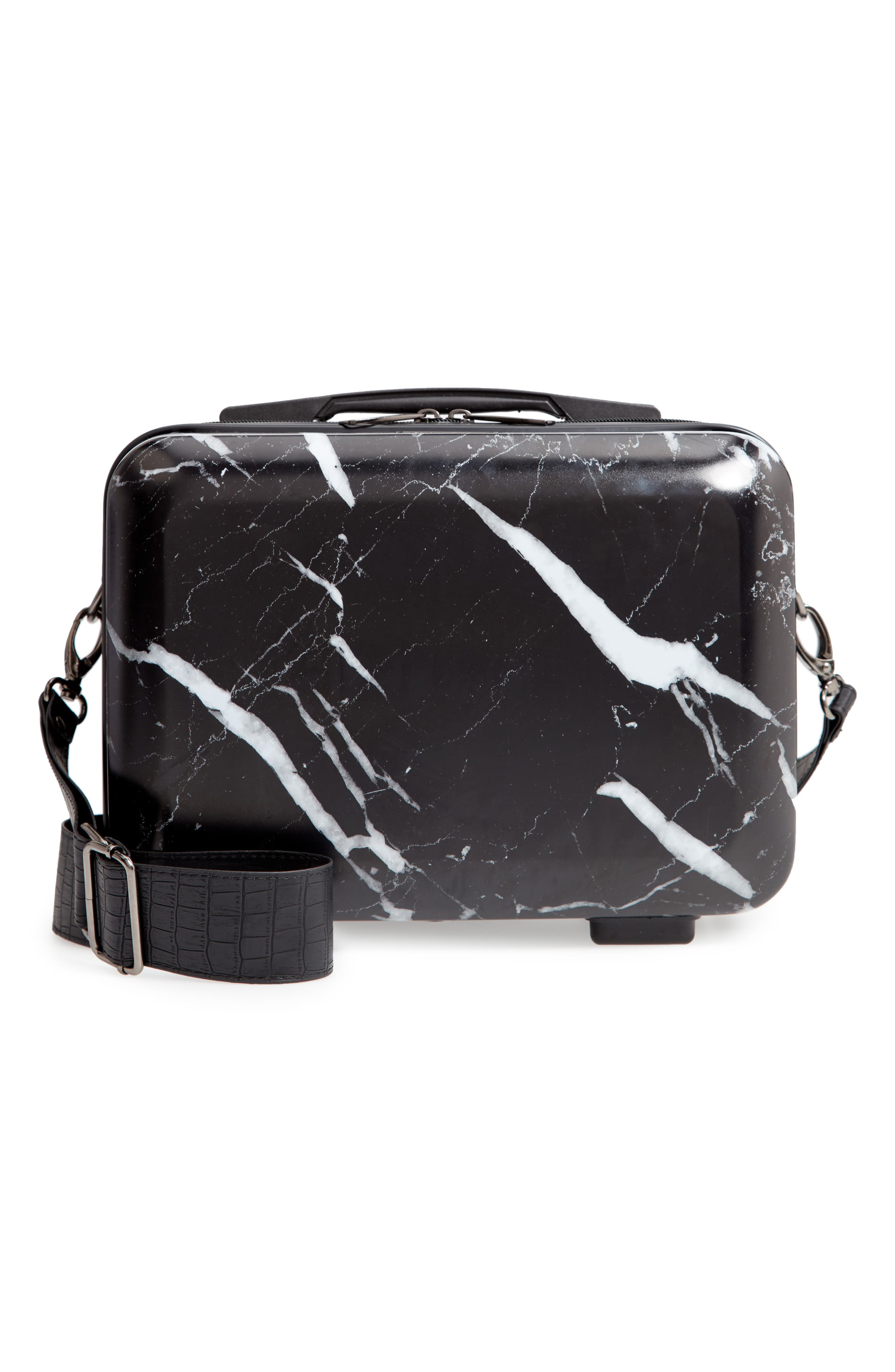 CALPAK Hardshell Cosmetics Case, Main, color, MIDNIGHT MARBLE