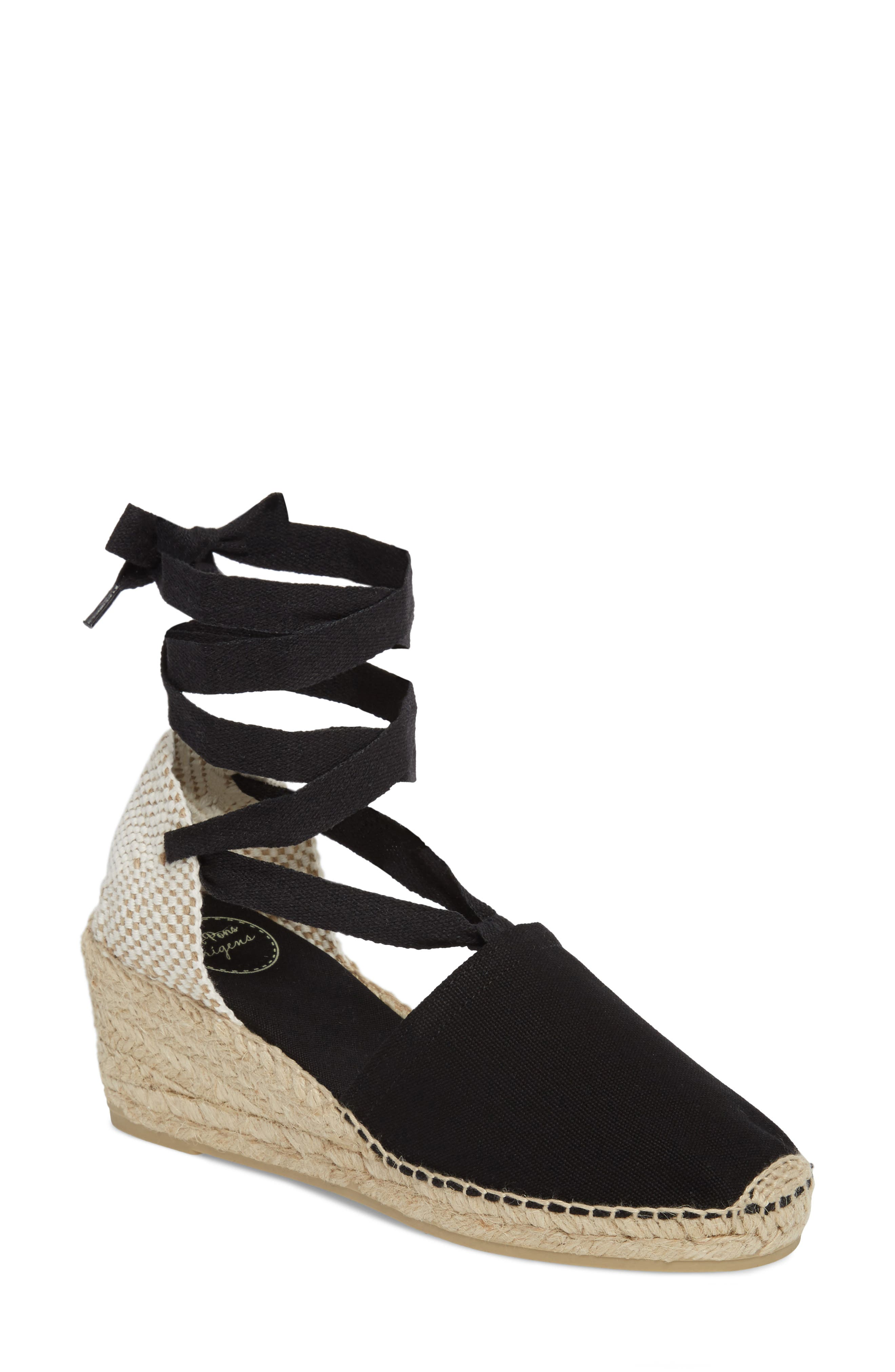 TONI PONS, Valencia Wraparound Espadrille Wedge, Main thumbnail 1, color, BLACK FABRIC