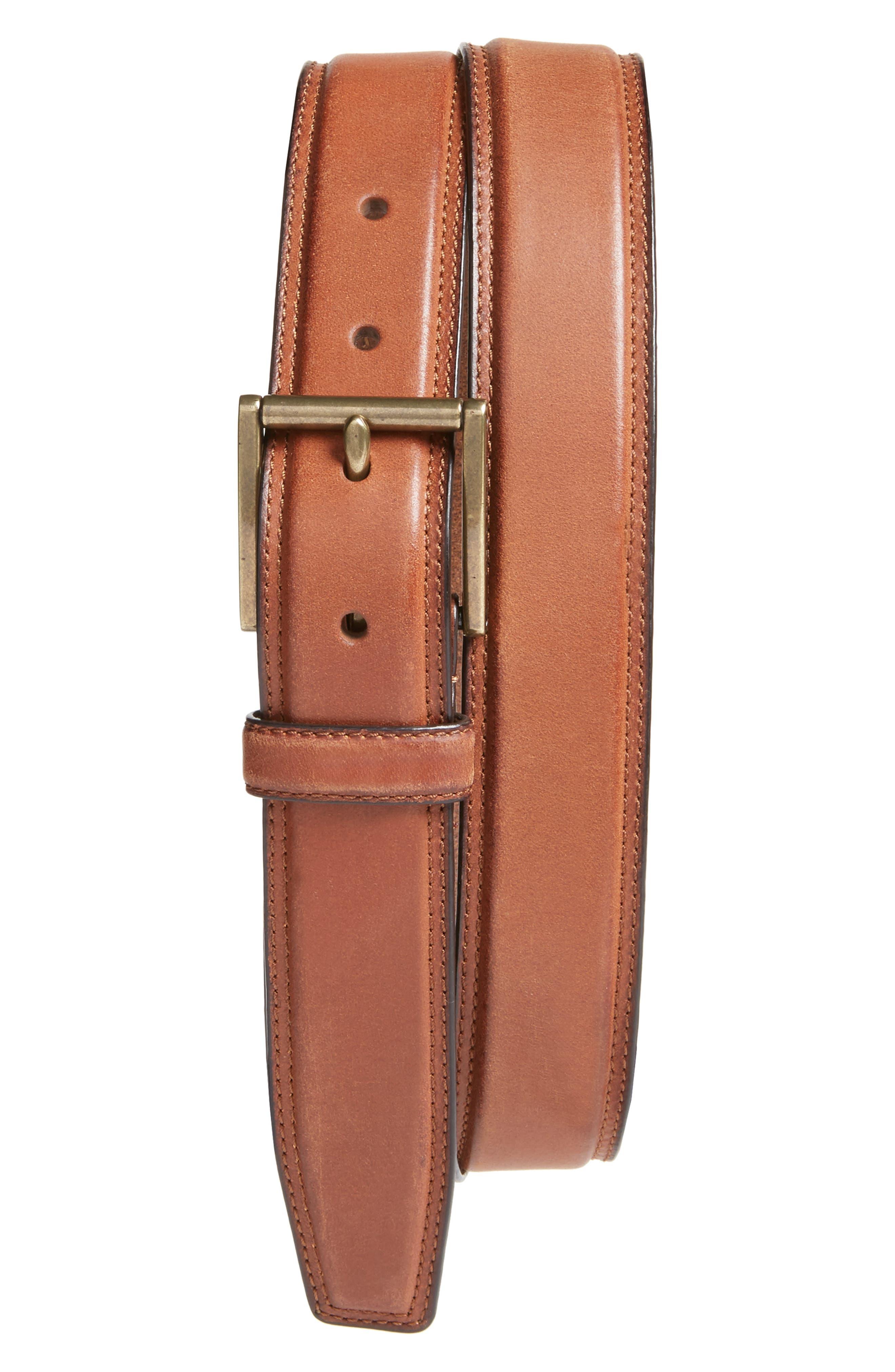 COLE HAAN Leather Belt, Main, color, 201