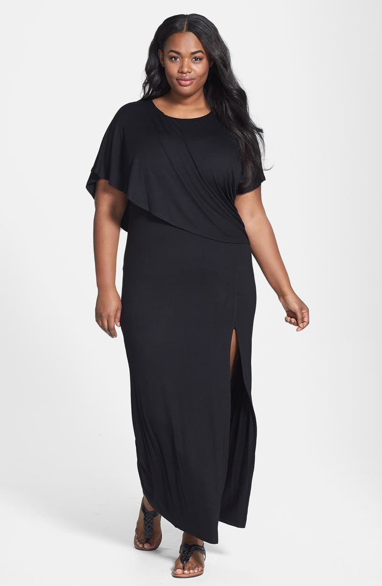Loveappella Capelet Overlay Jersey Maxi Dress (Plus Size) | Nordstrom