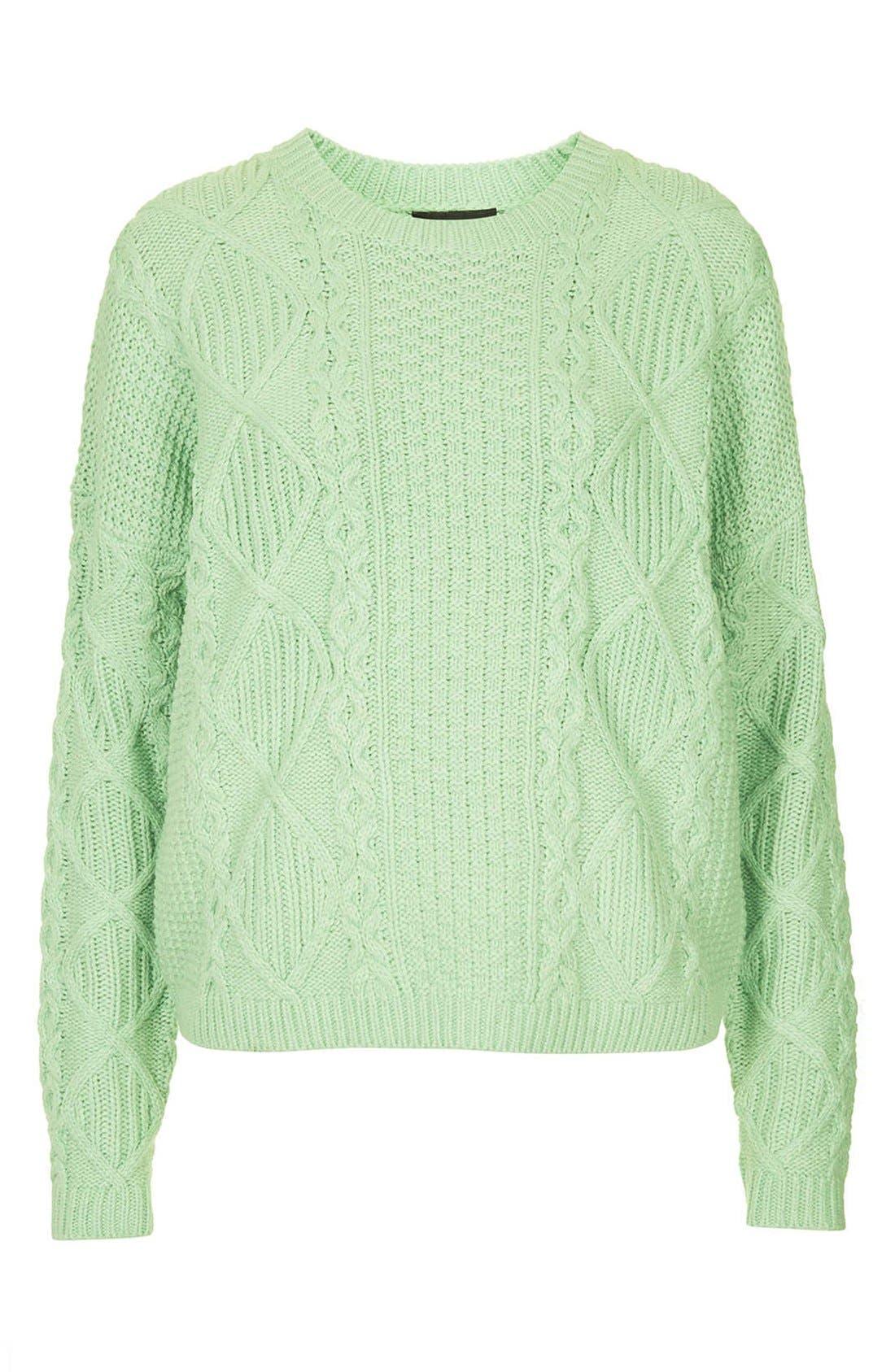 TOPSHOP, Crewneck Cable Knit Sweater, Alternate thumbnail 5, color, 340