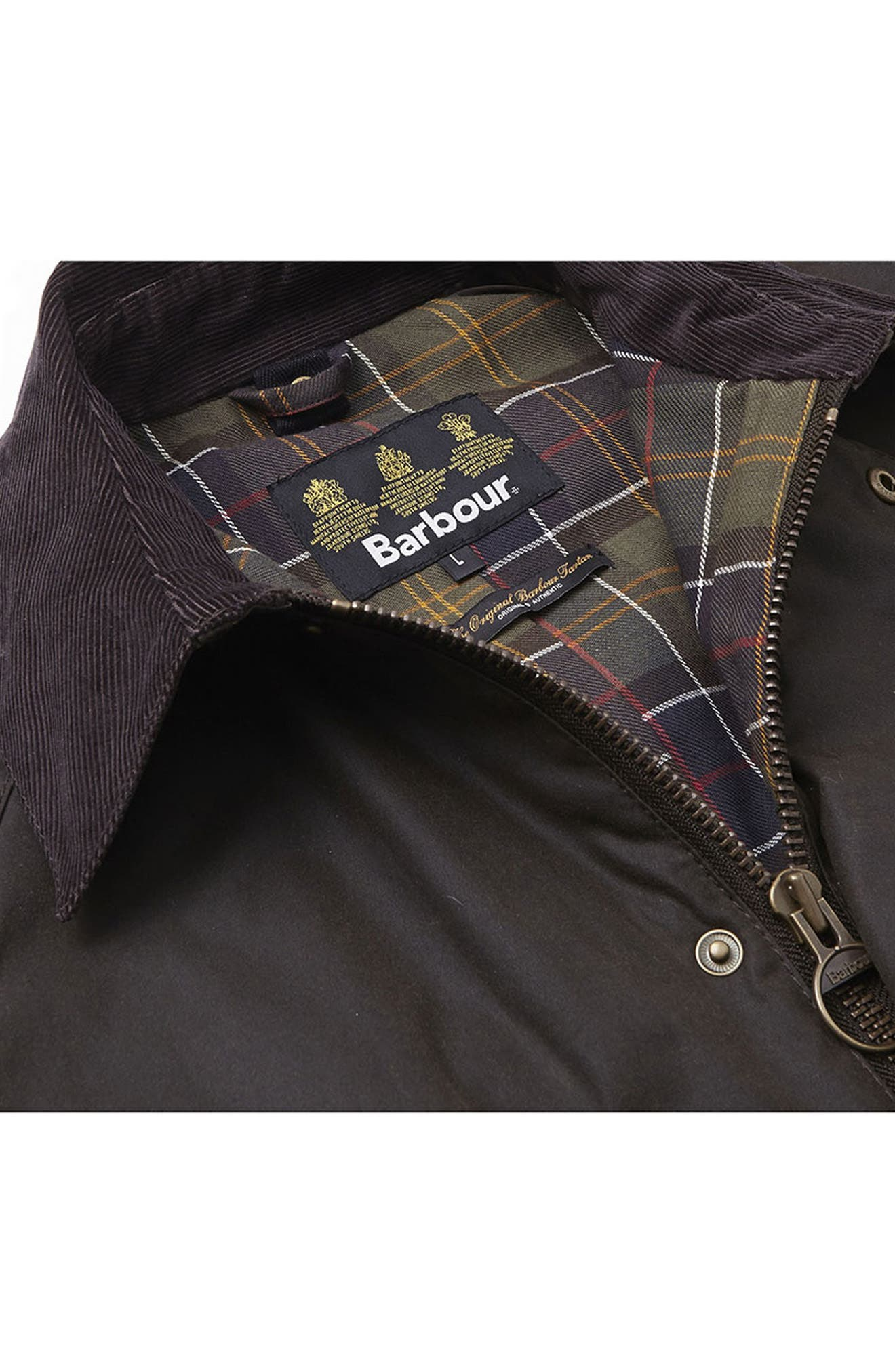 BARBOUR, Ashby Wax Jacket, Alternate thumbnail 8, color, OLIVE