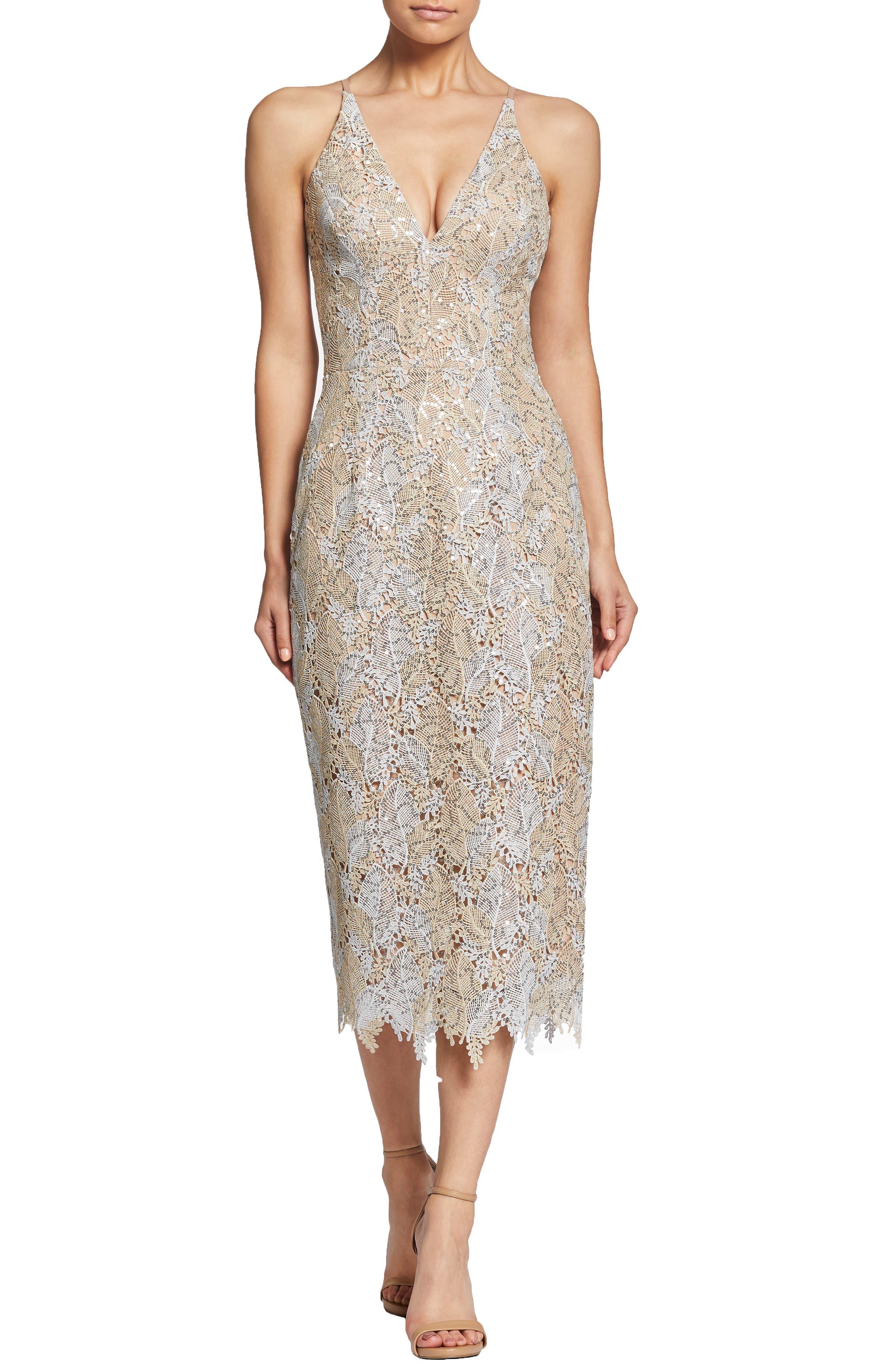 DRESS THE POPULATION, Aurora Lace Sheath Dress, Main thumbnail 1, color, PLATINUM/ GOLD