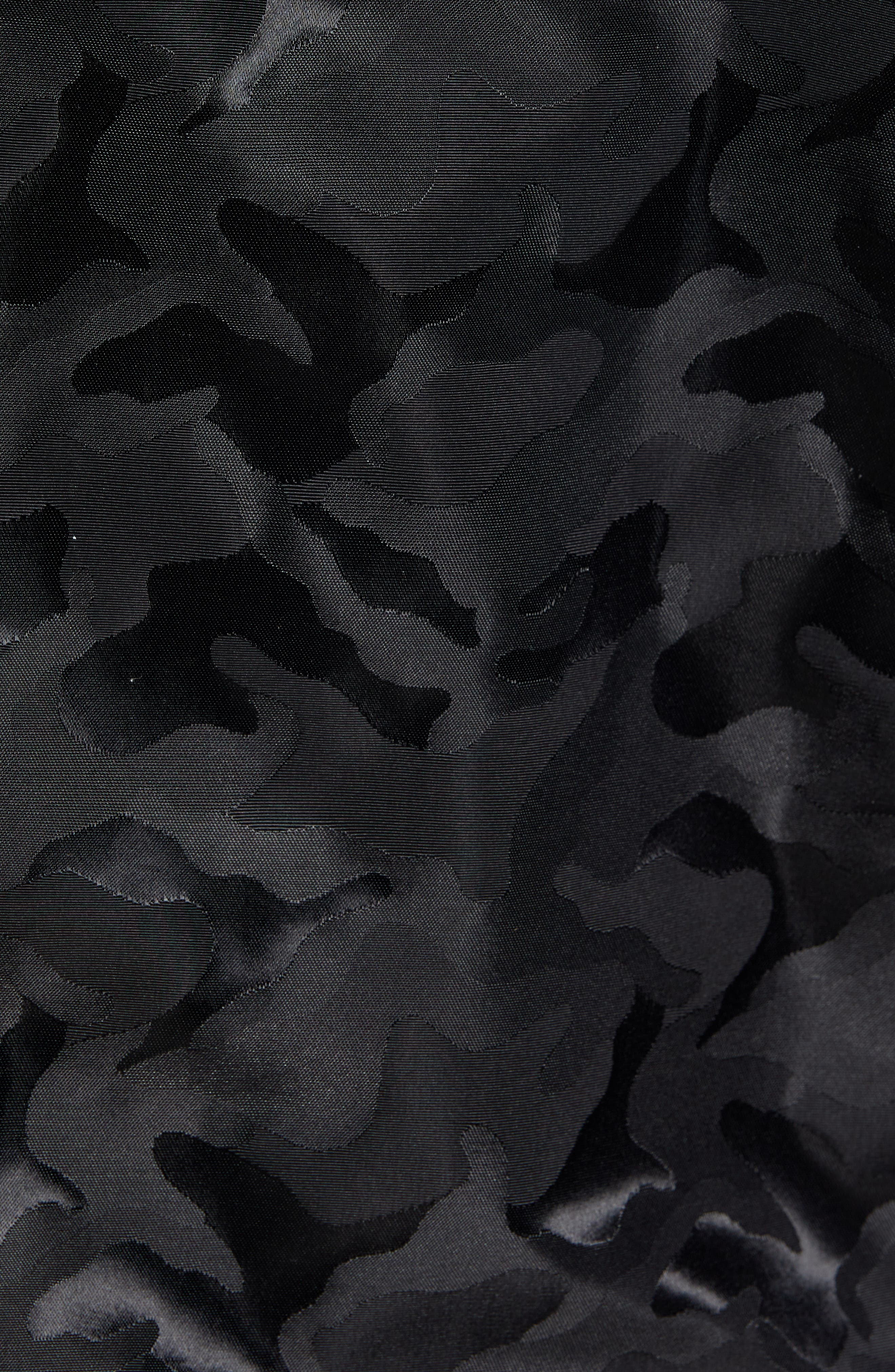 REIGNING CHAMP, Satin Camo Print Stadium Jacket, Alternate thumbnail 7, color, 001