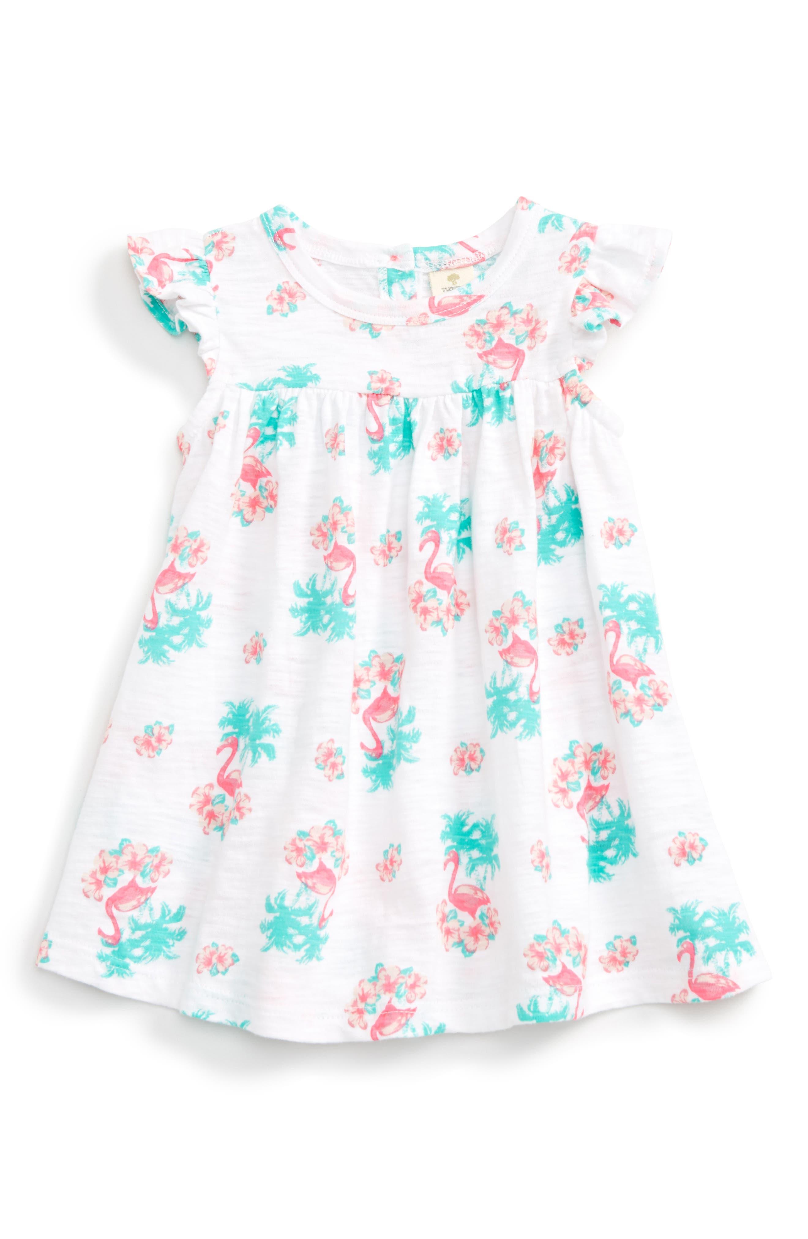 TUCKER + TATE, Print Flutter Sleeve Dress, Alternate thumbnail 2, color, 100