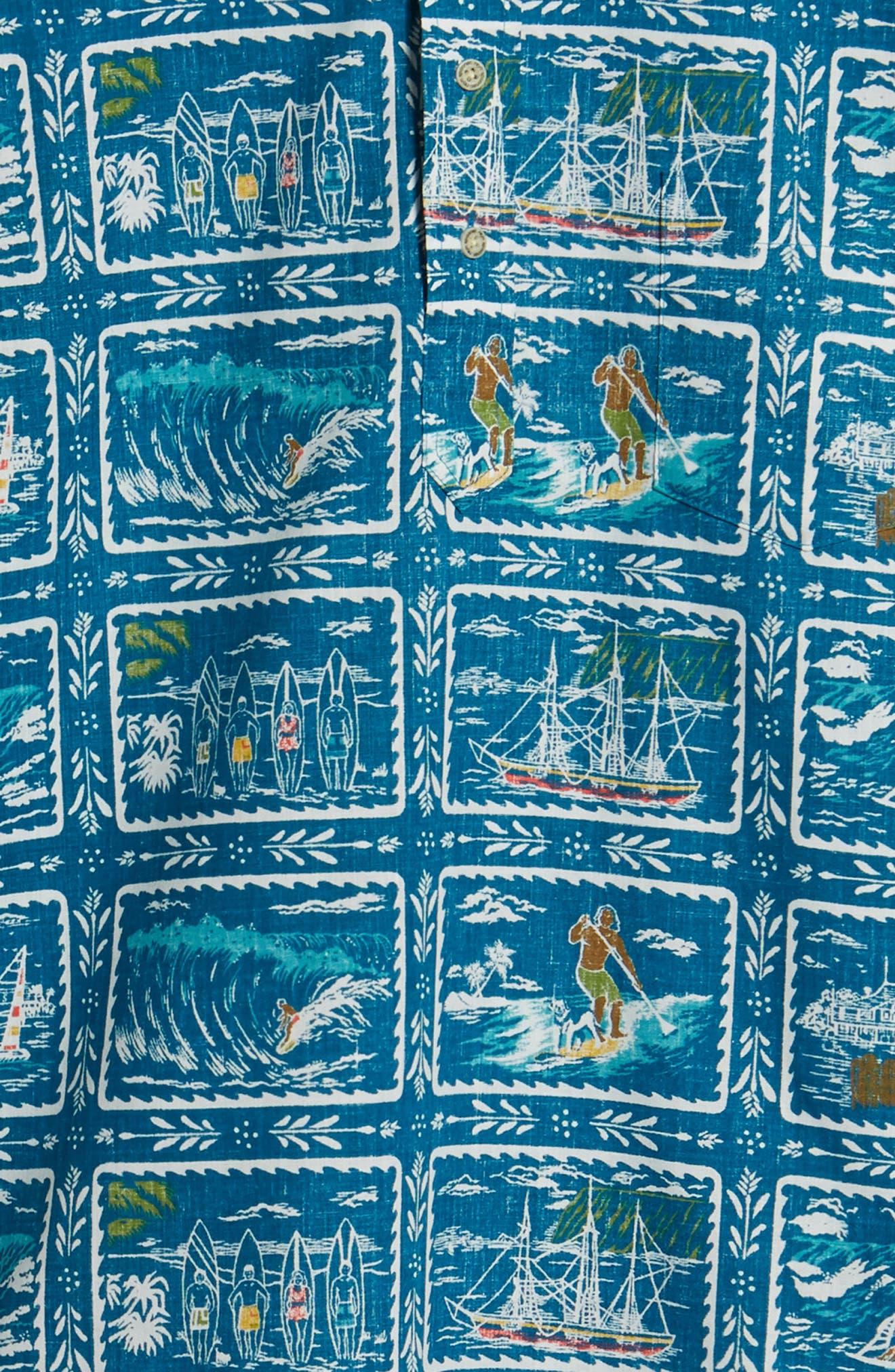 REYN SPOONER, Hawaiian Sports Classic Fit Pullover Sport Shirt, Alternate thumbnail 6, color, BLUE