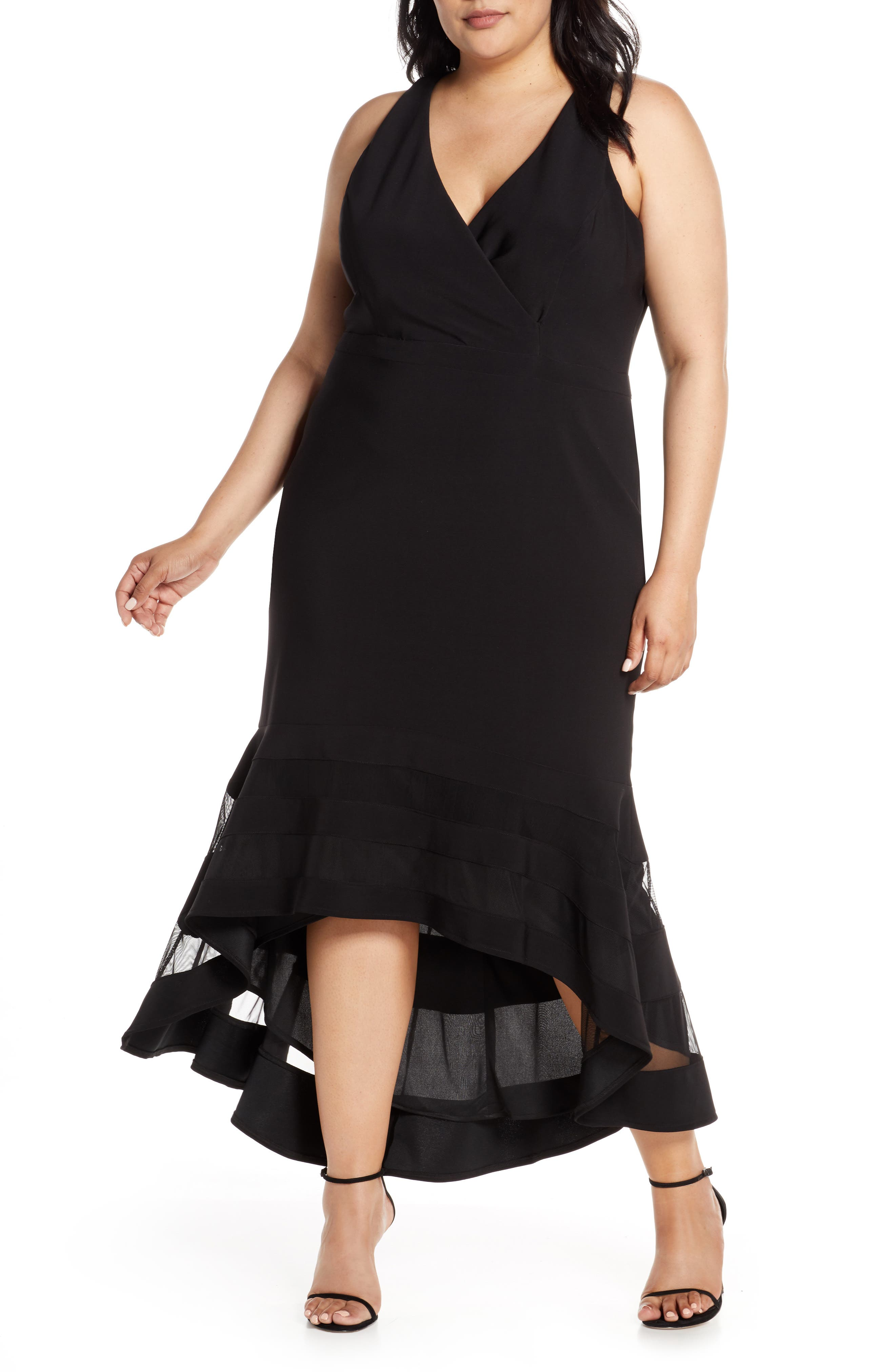 Plus Size Xscape Illusion High/low Hem Gown, Black