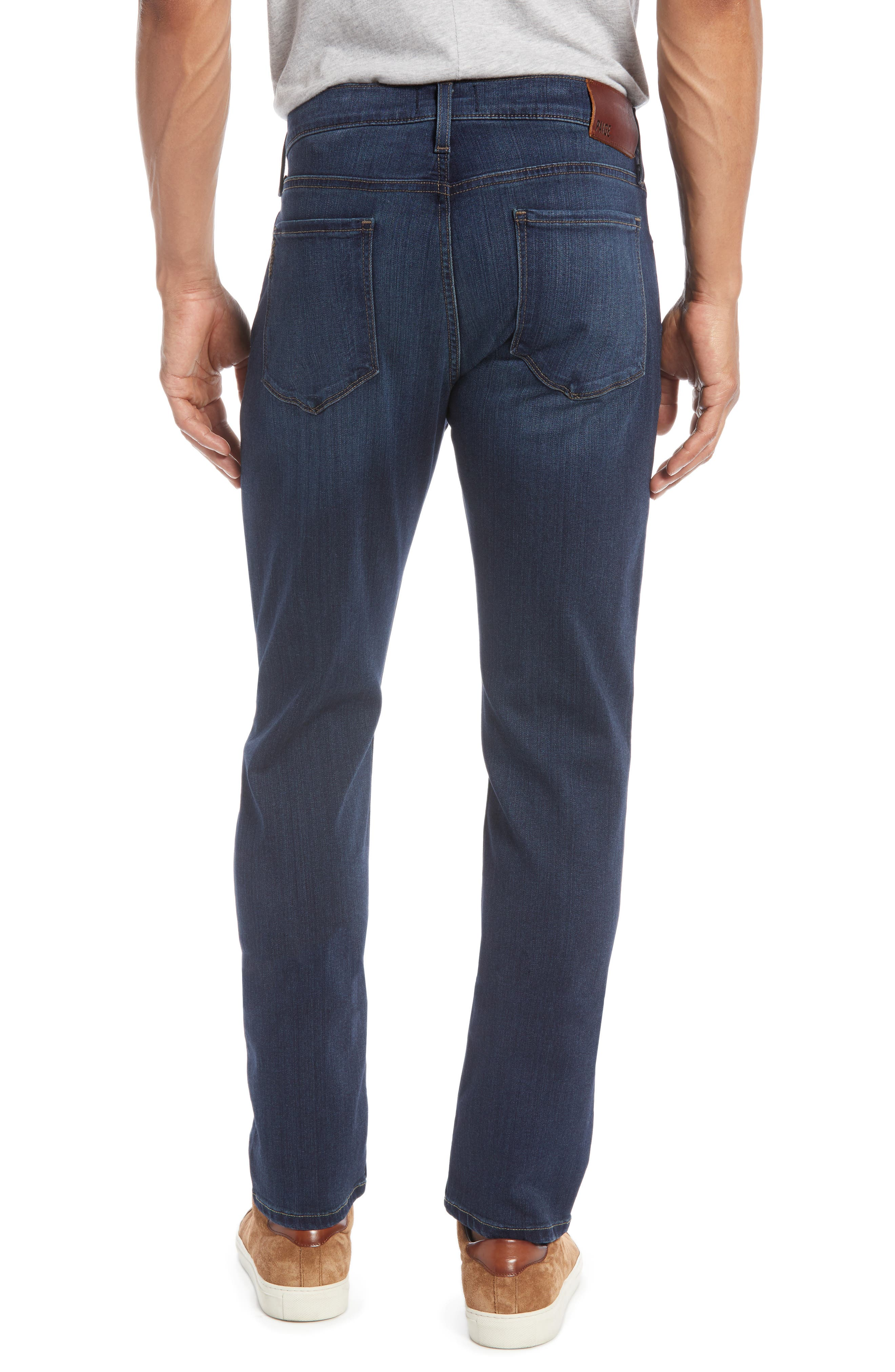 PAIGE, 'Federal' Slim Straight Leg Jeans, Alternate thumbnail 4, color, BLAKELY
