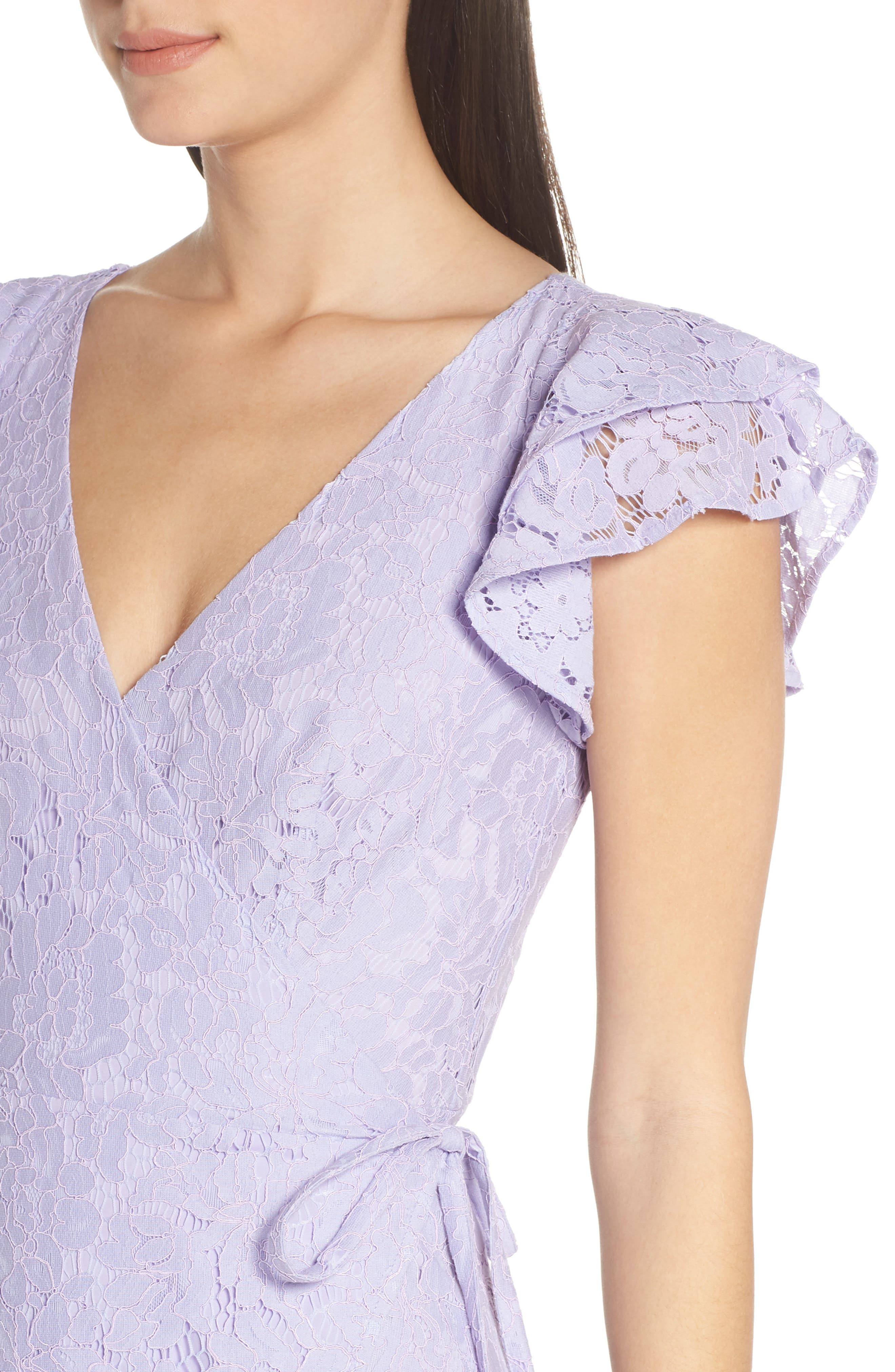 ALI & JAY, Ruffle Sleeve Wrap Lace Midi Dress, Alternate thumbnail 5, color, LAVENDER