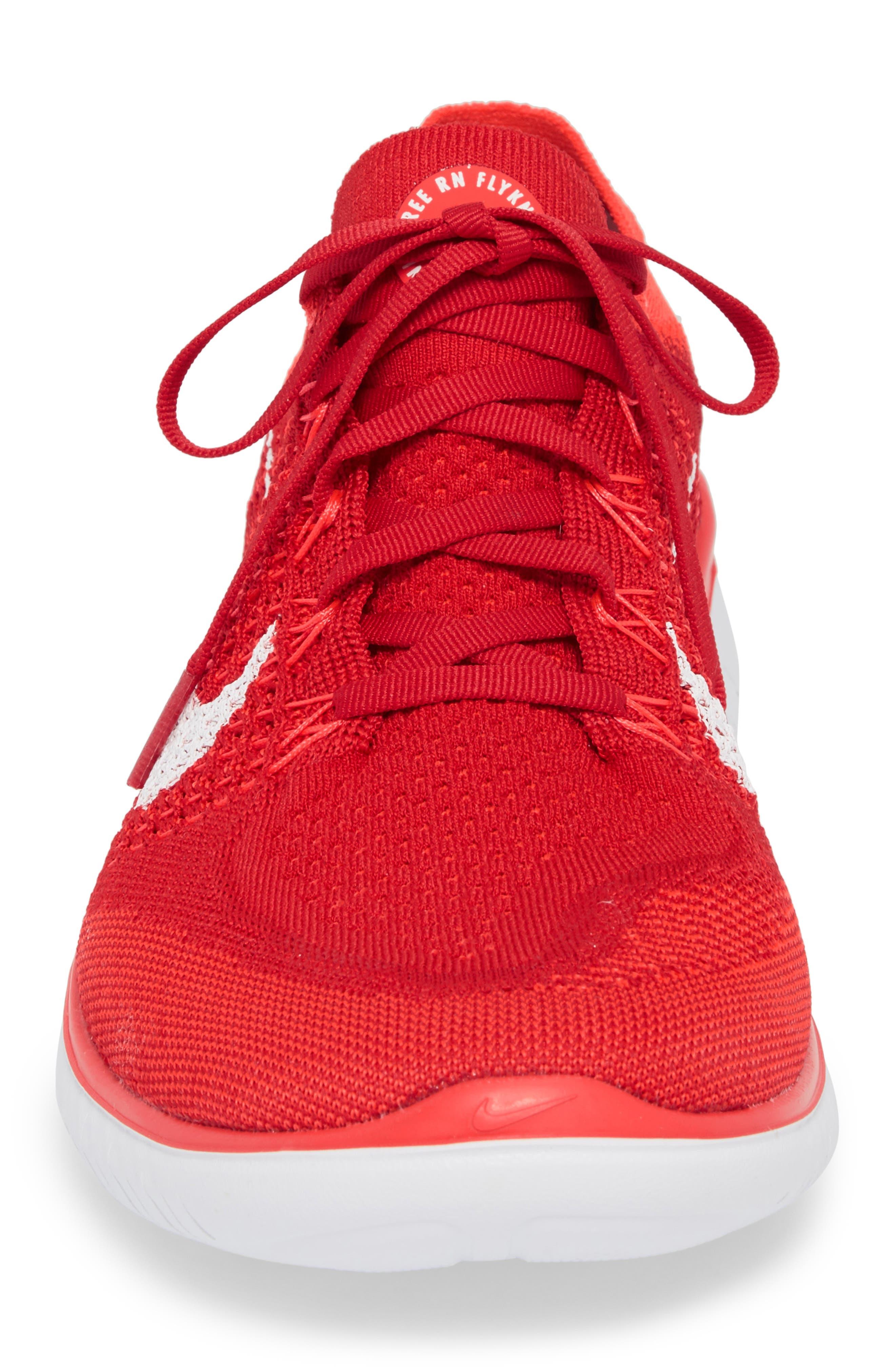 NIKE, Free RN Flyknit 2018 Running Shoe, Alternate thumbnail 4, color, UNIVERSITY RED/ WHITE/ CRIMSON