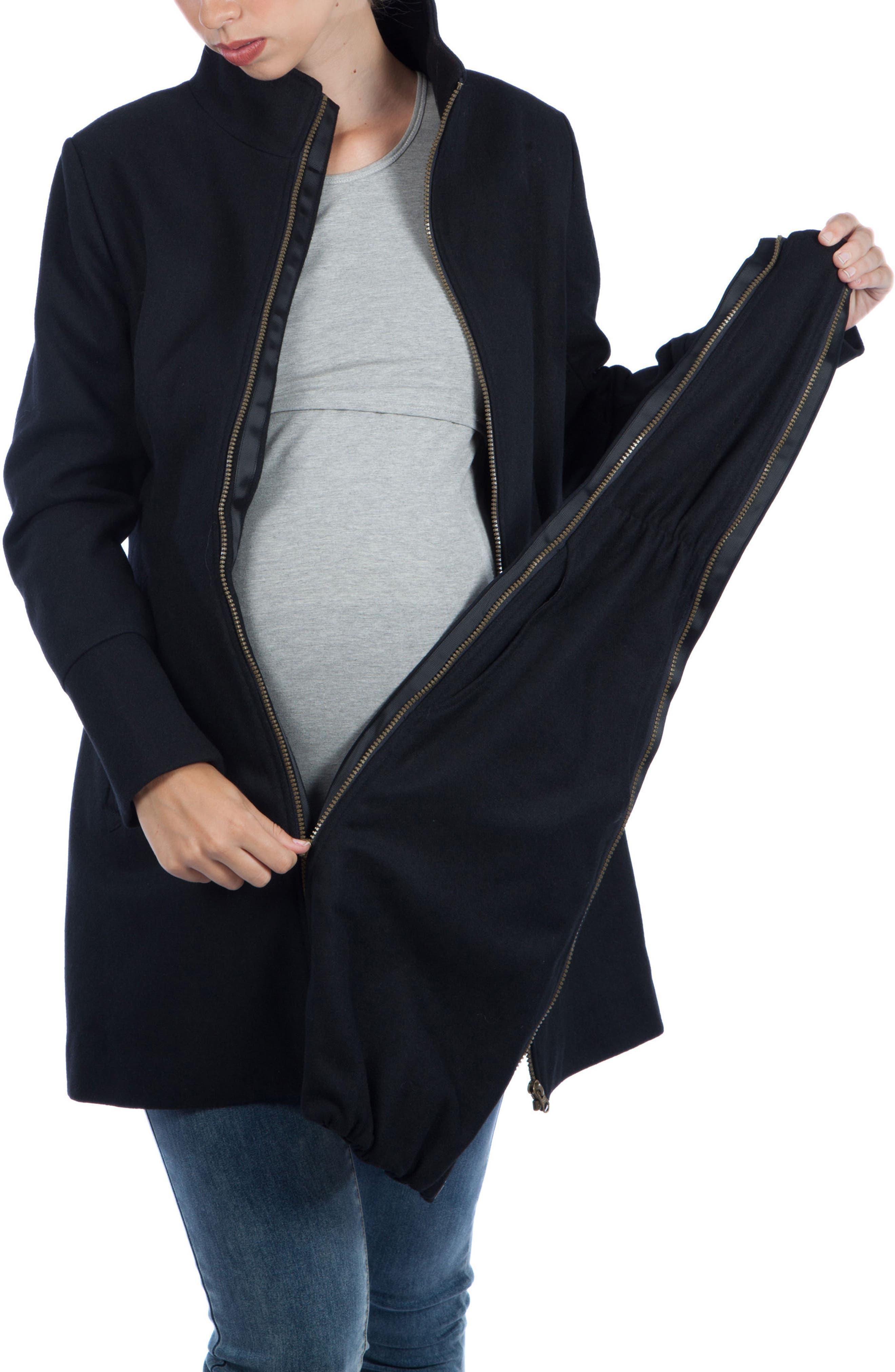MODERN ETERNITY, Convertible 3-in-1 Maternity/Nursing Coat, Alternate thumbnail 6, color, BLACK