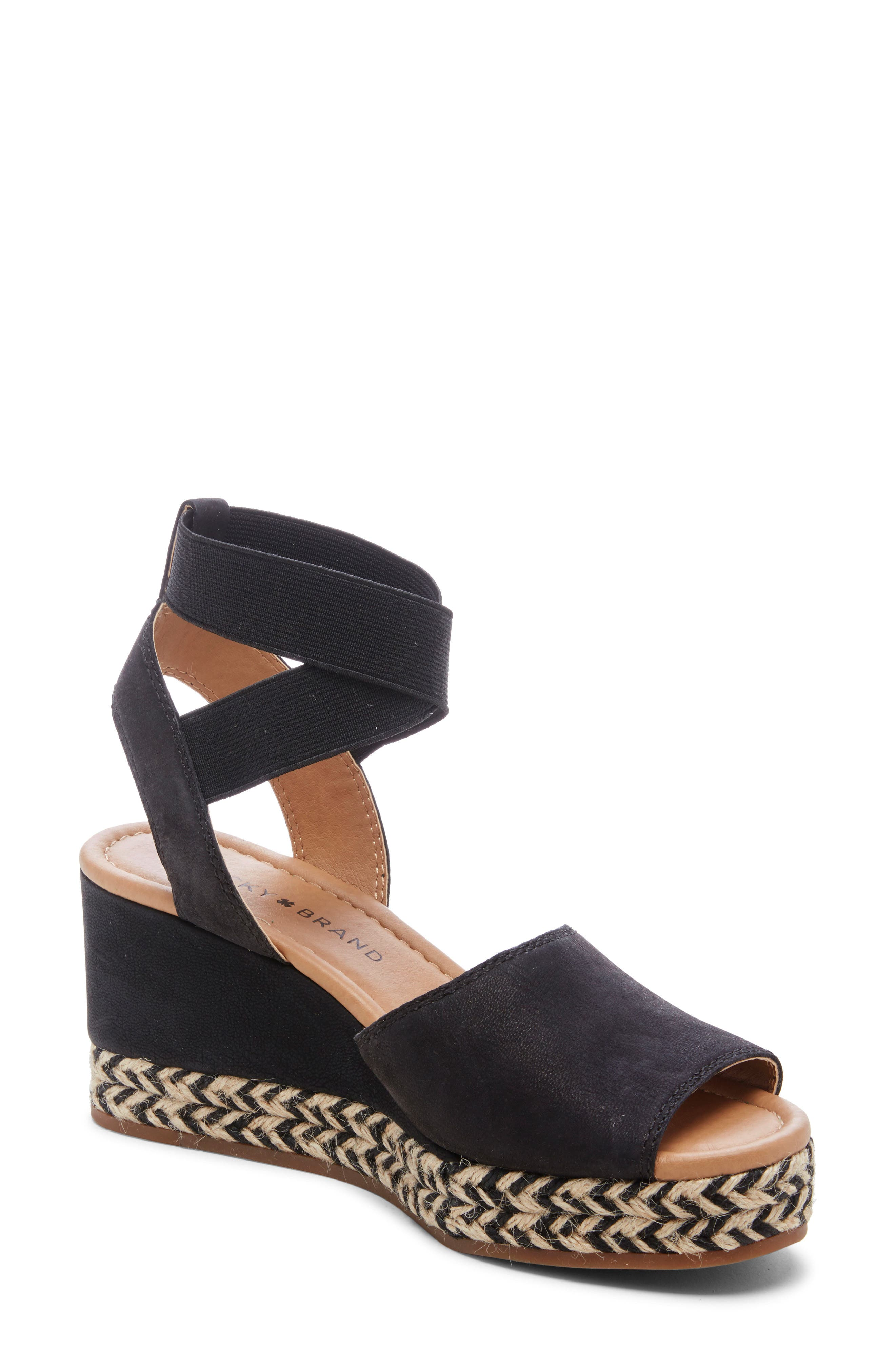 Lucky Brand Bettanie Espadrille Wedge Sandal- Black