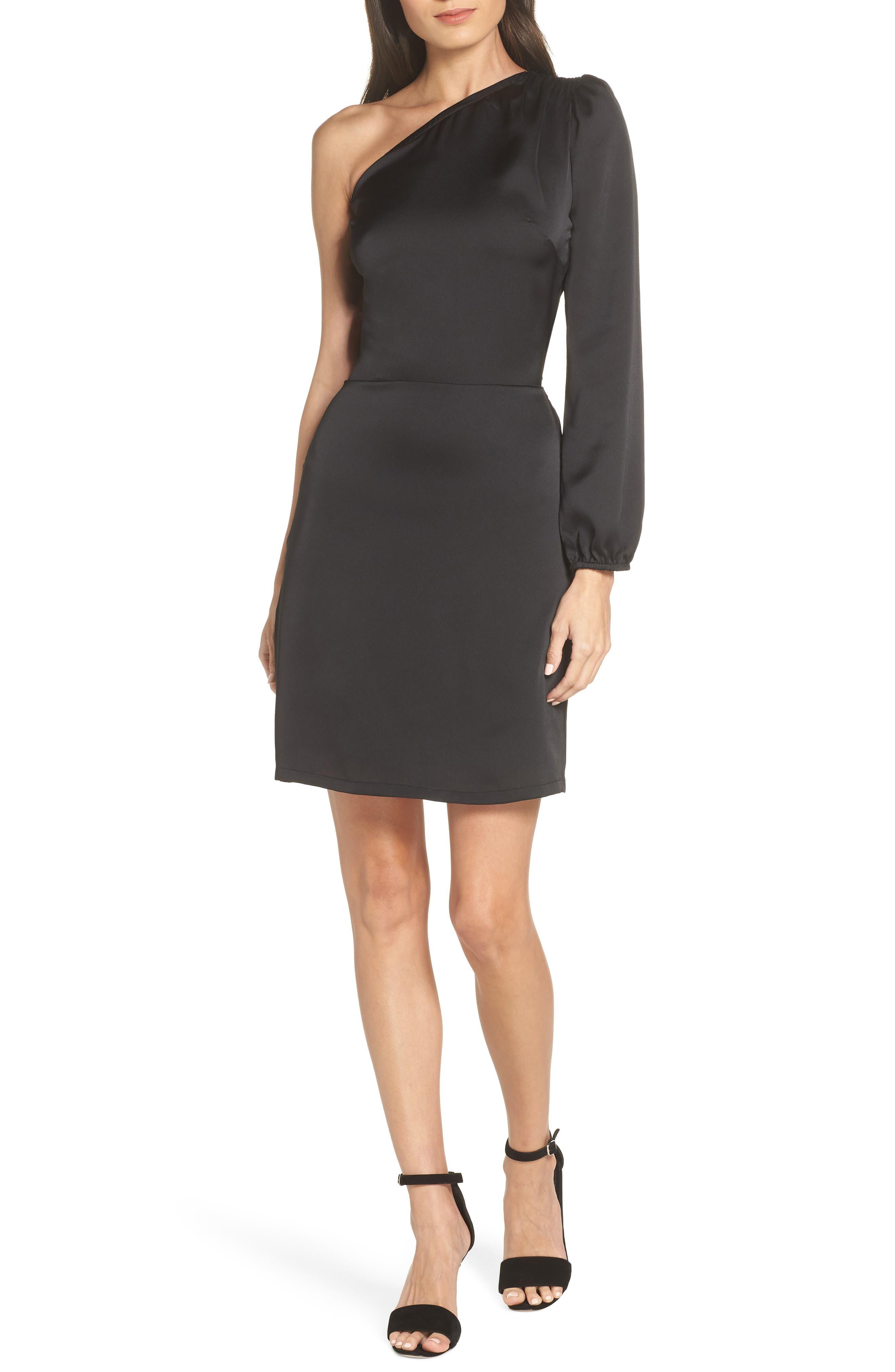 Fraiche By J One-Shoulder Satin Dress, Black