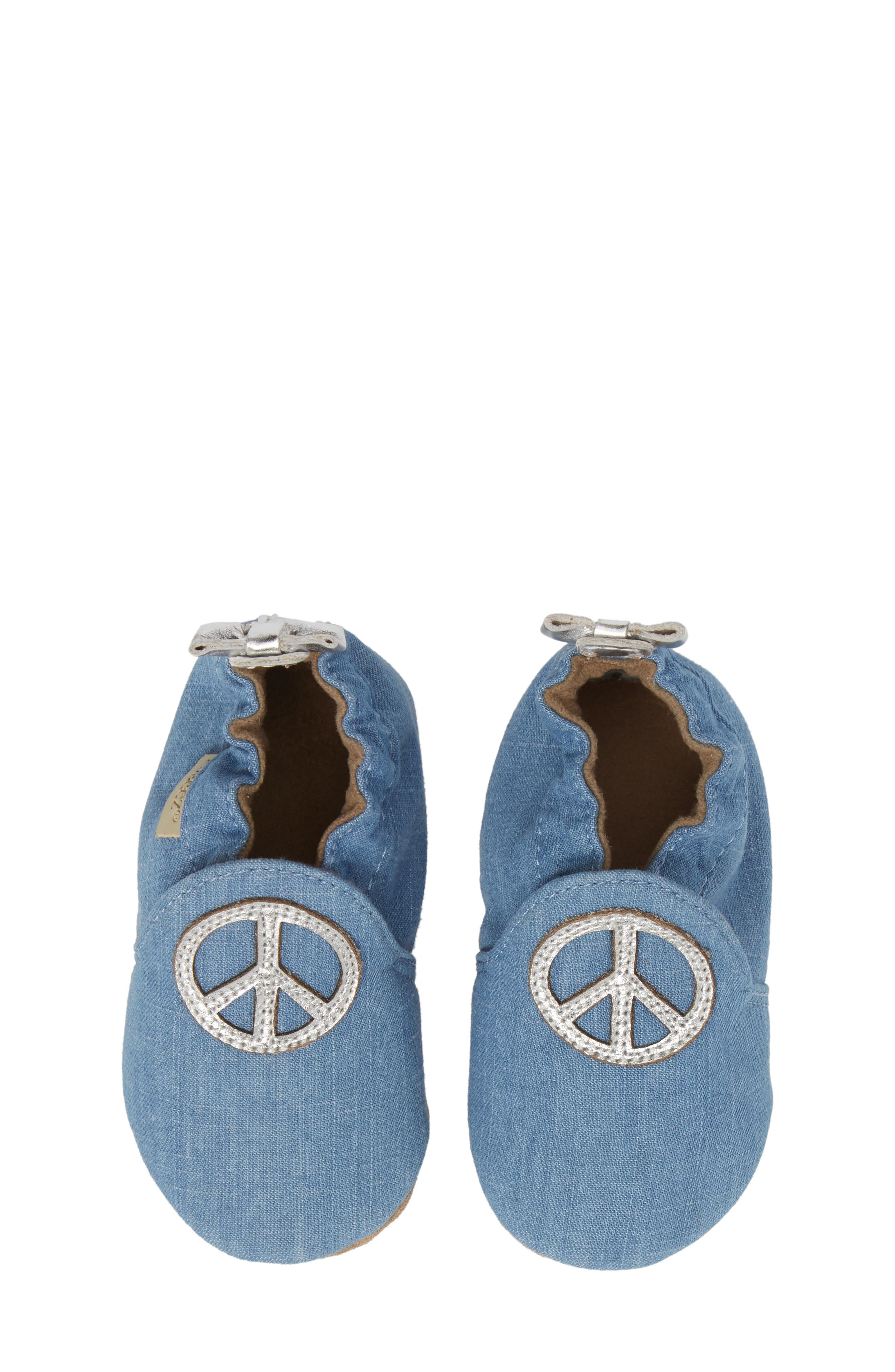 ROBEEZ<SUP>®</SUP>, Peace Out Moccasin Crib Shoe, Alternate thumbnail 5, color, BLUE