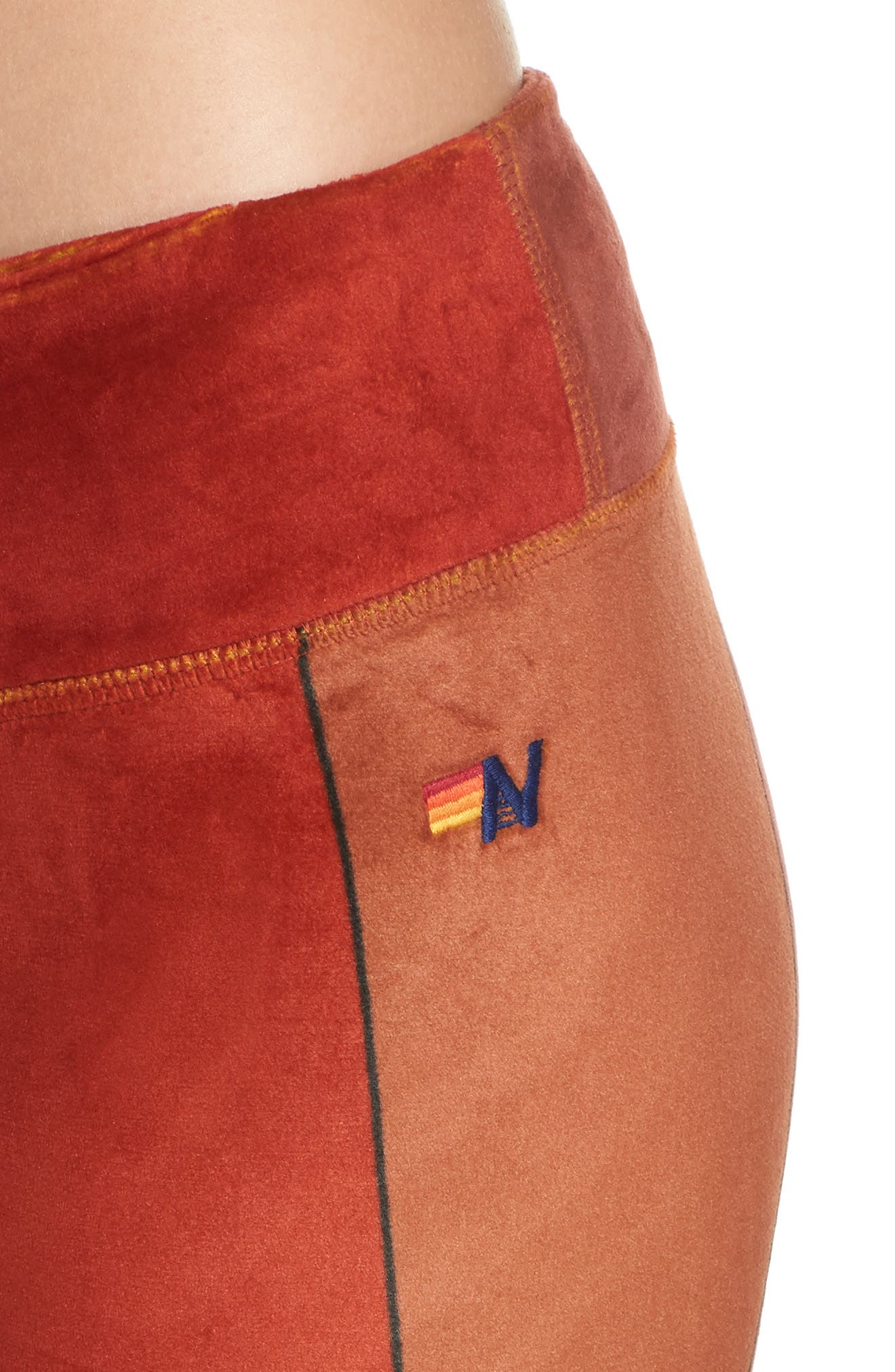 AVIATOR NATION, Rainbow Sunburst Velour Leggings, Alternate thumbnail 5, color, 600