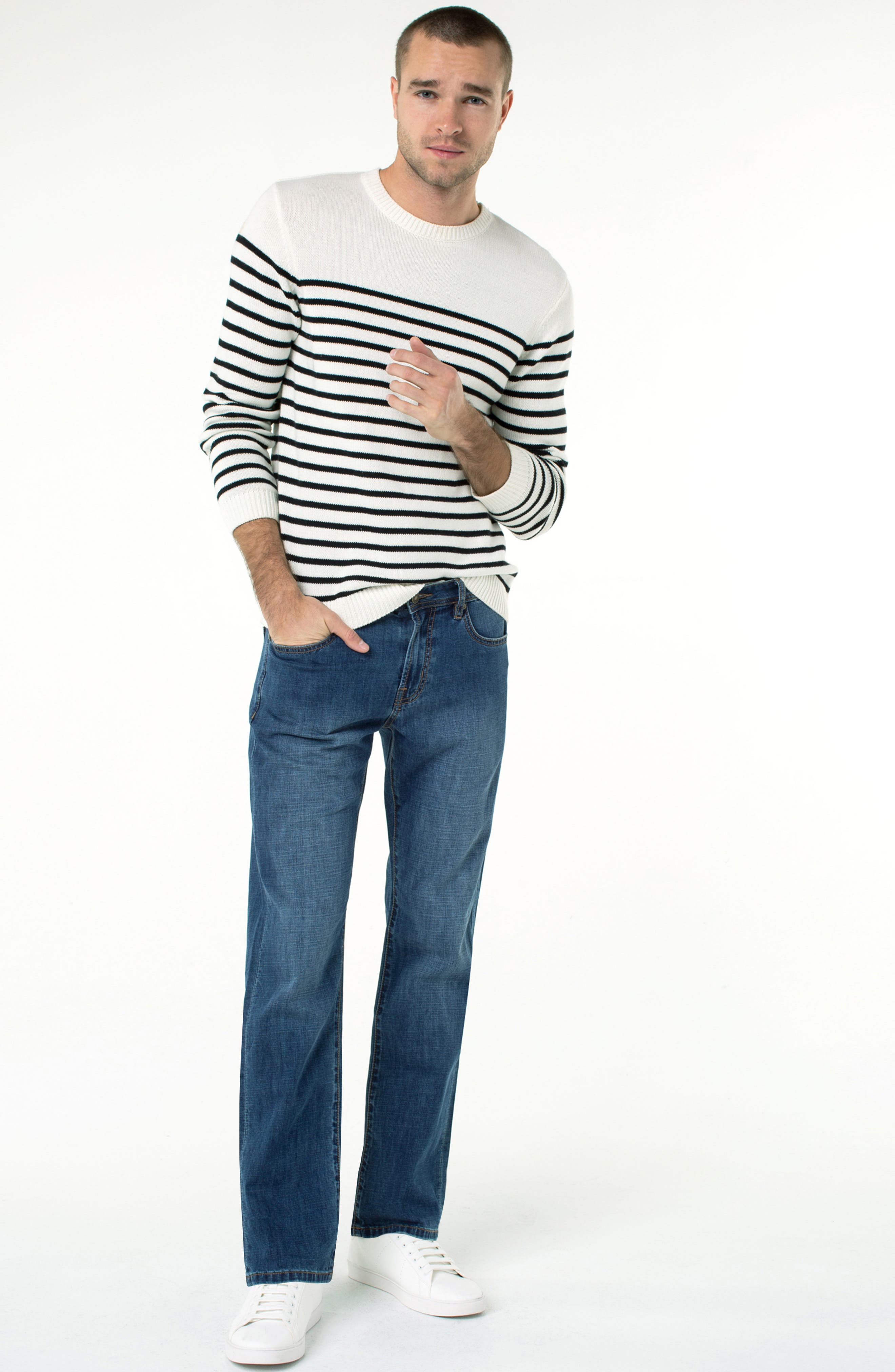 LIVERPOOL, Regent Relaxed Straight Leg Jeans, Alternate thumbnail 4, color, ANDERSON MID