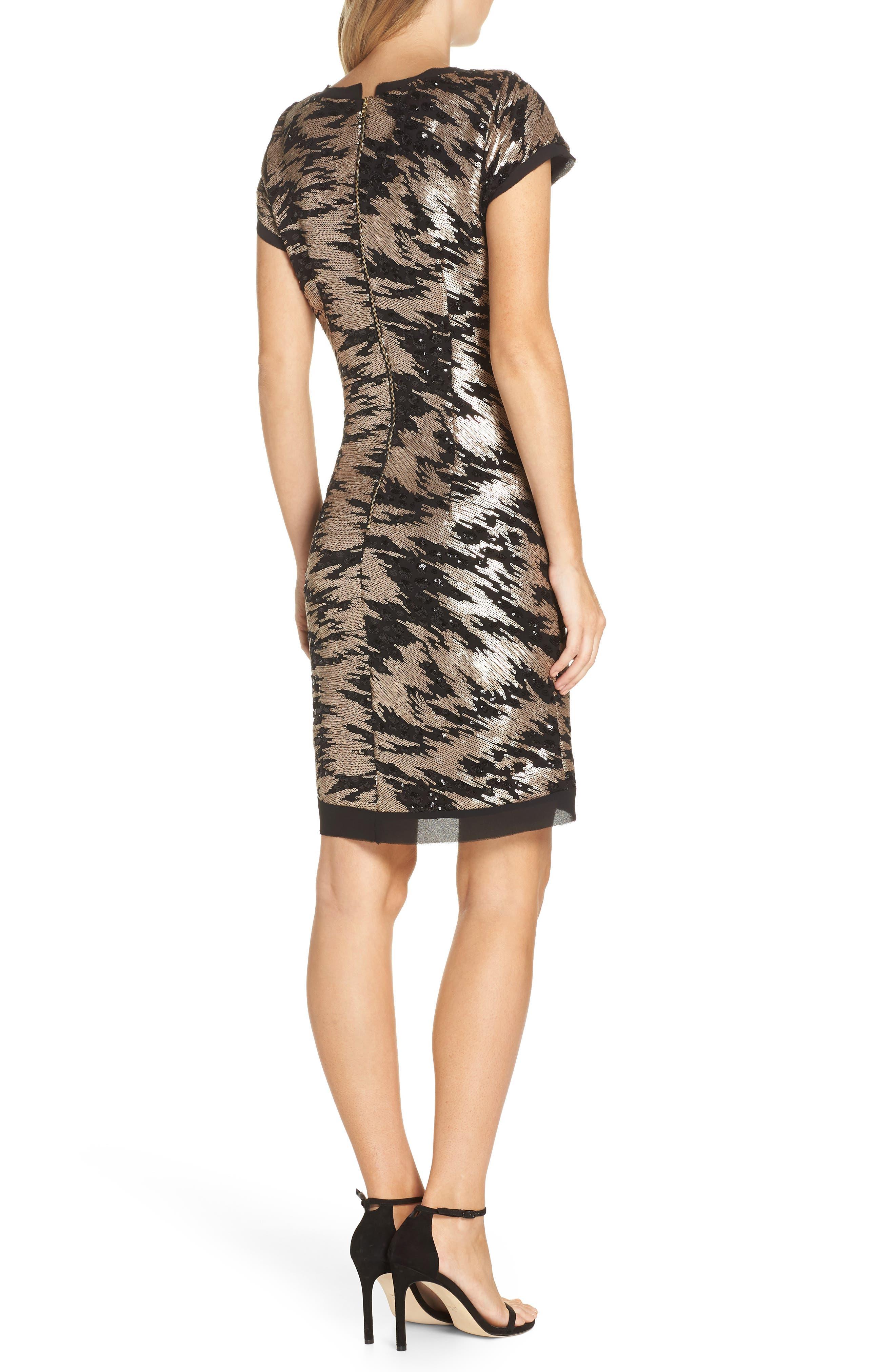 ELIZA J, Sequin Sheath Dress, Alternate thumbnail 2, color, BLACK/ GOLD