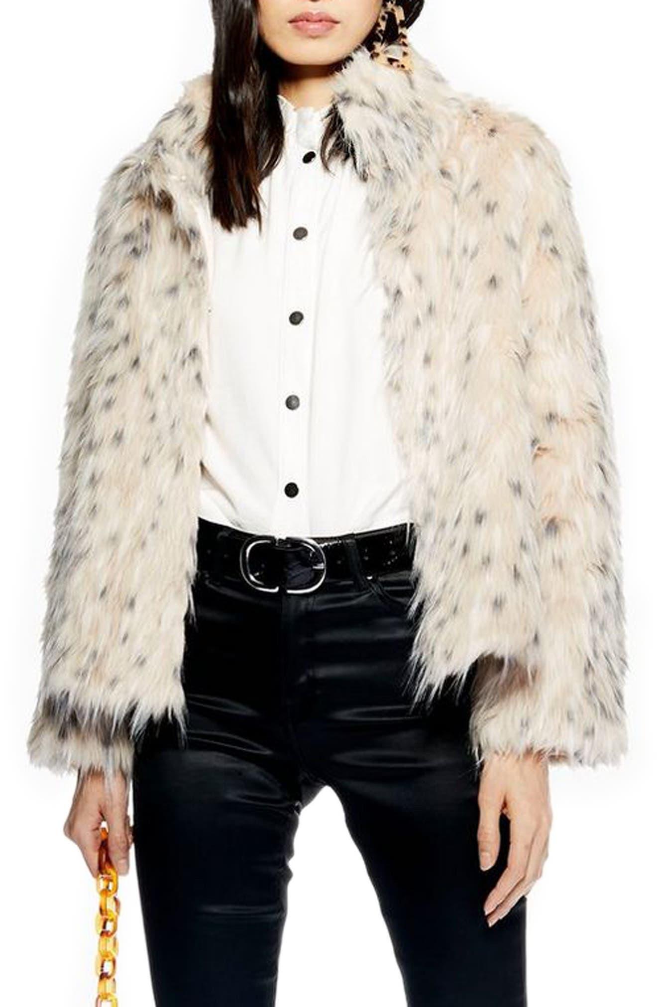 TOPSHOP, Patsy Snow Leopard Faux Fur Jacket, Main thumbnail 1, color, 001