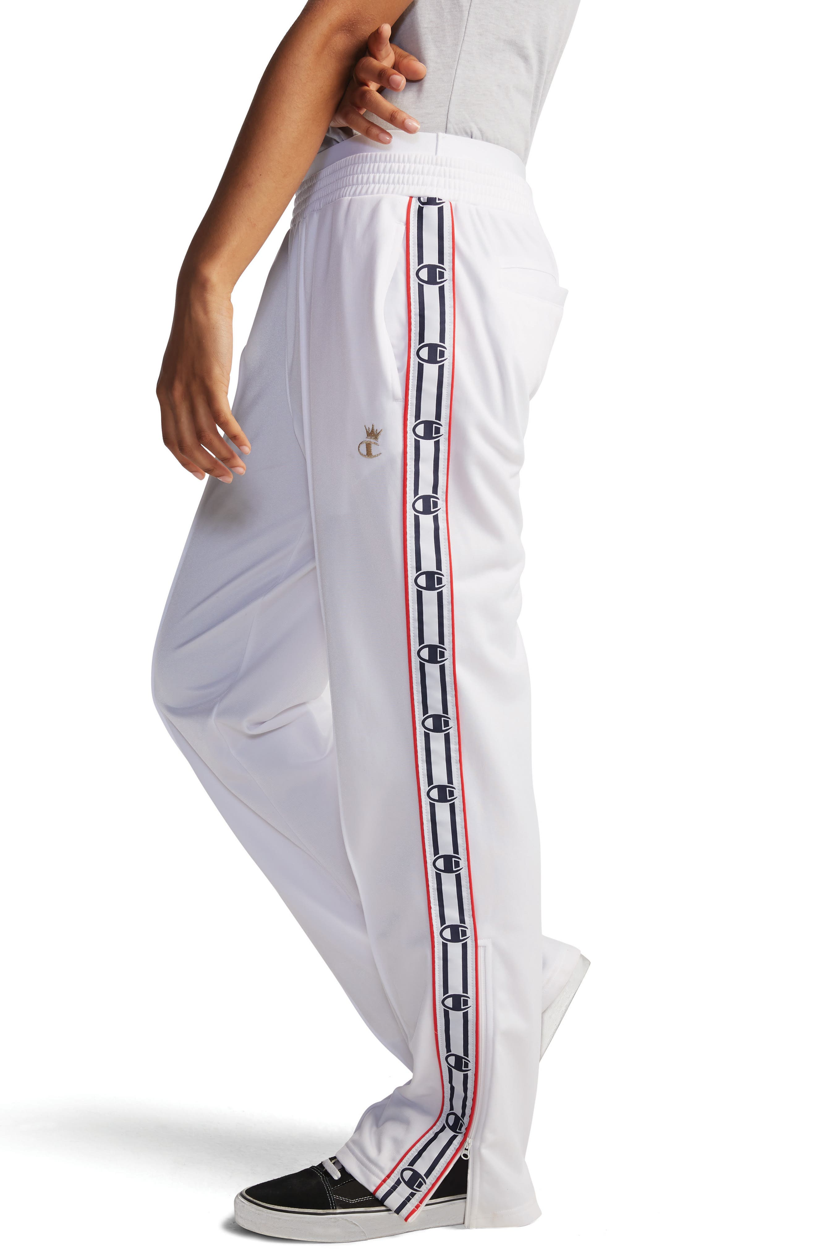 CHAMPION, Logo Tape Track Pants, Alternate thumbnail 2, color, WHITE