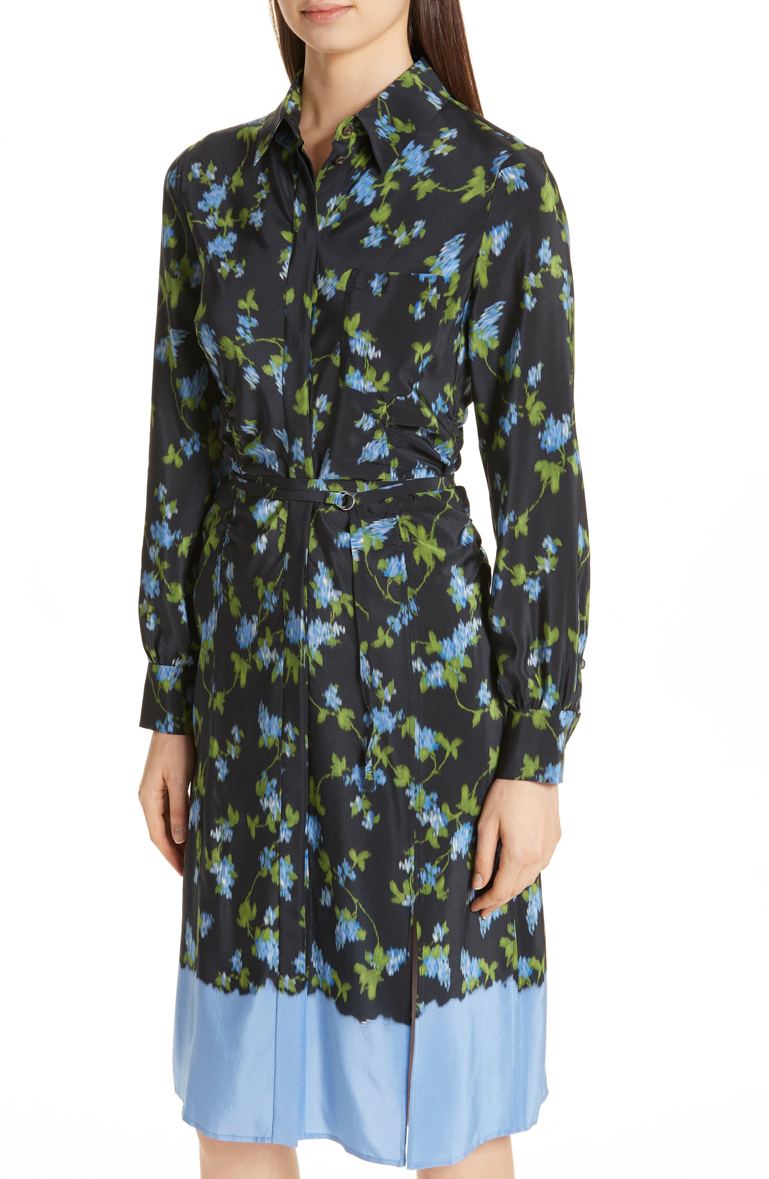 ALTUZARRA, Floral Print Silk Dress, Alternate thumbnail 5, color, BLACK