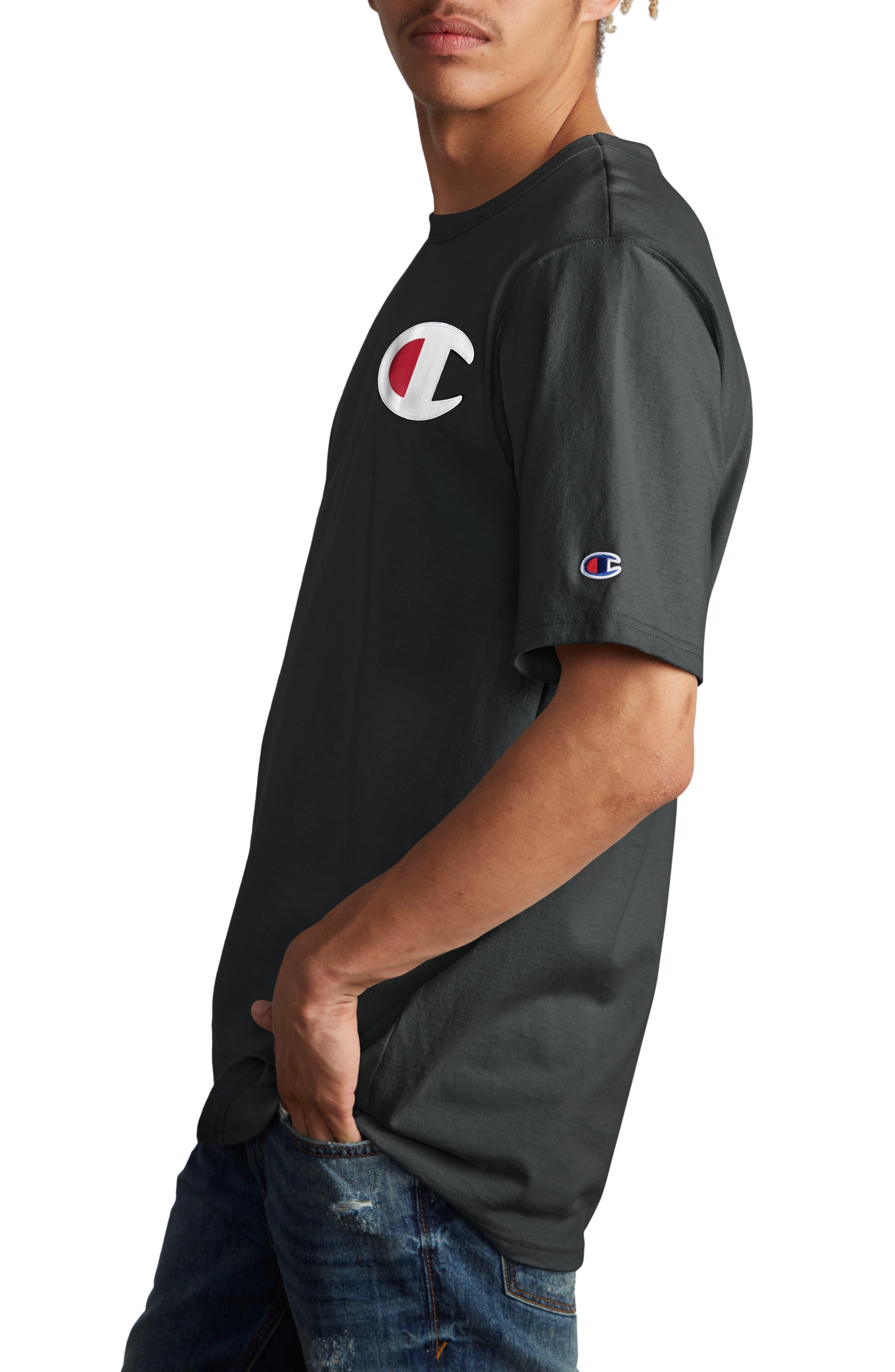 CHAMPION, Elevated C-Patch T-Shirt, Alternate thumbnail 3, color, BLACK