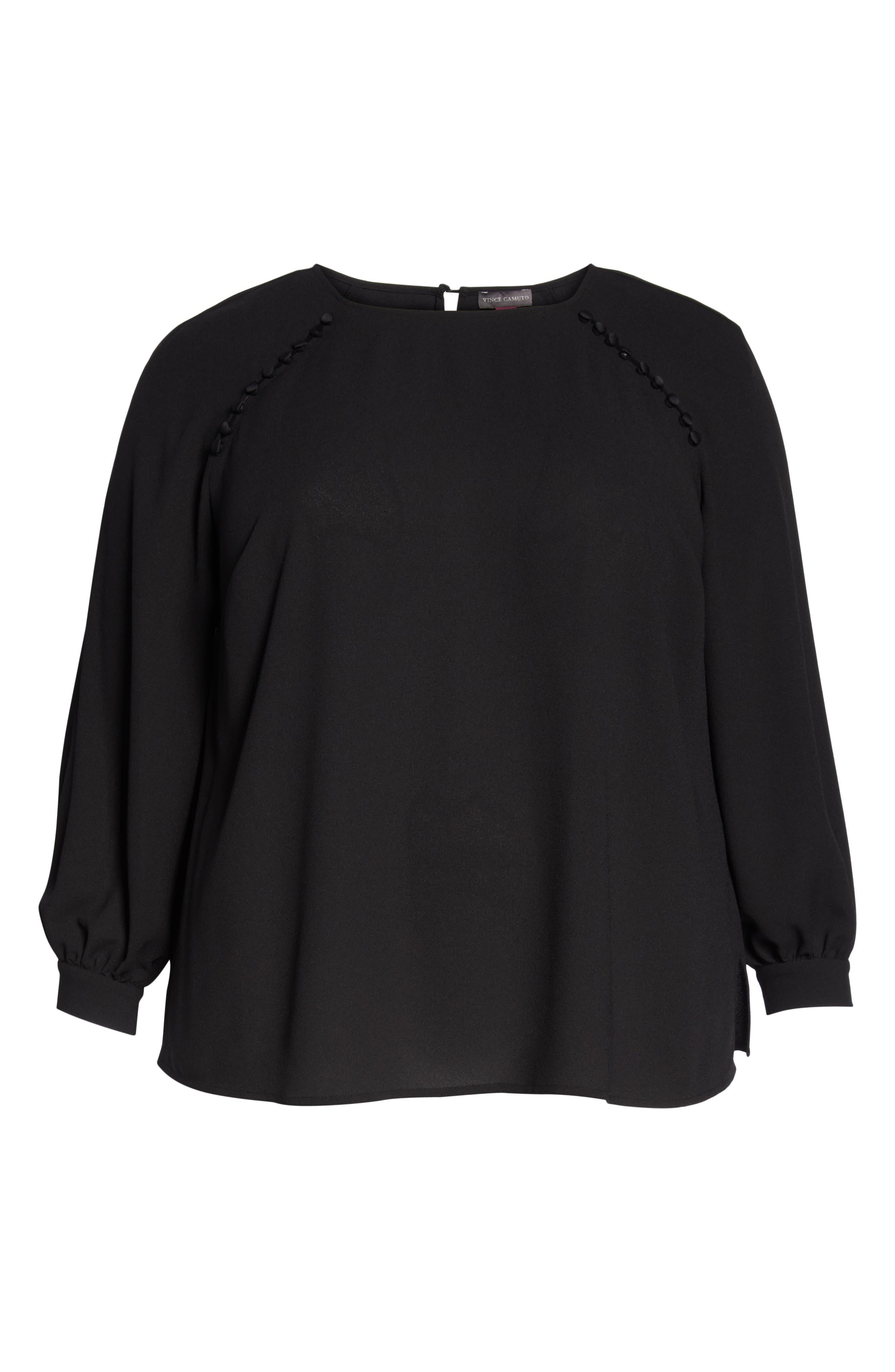 VINCE CAMUTO, Button Shoulder Bubble Sleeve Satin Blouse, Alternate thumbnail 6, color, RICH BLACK
