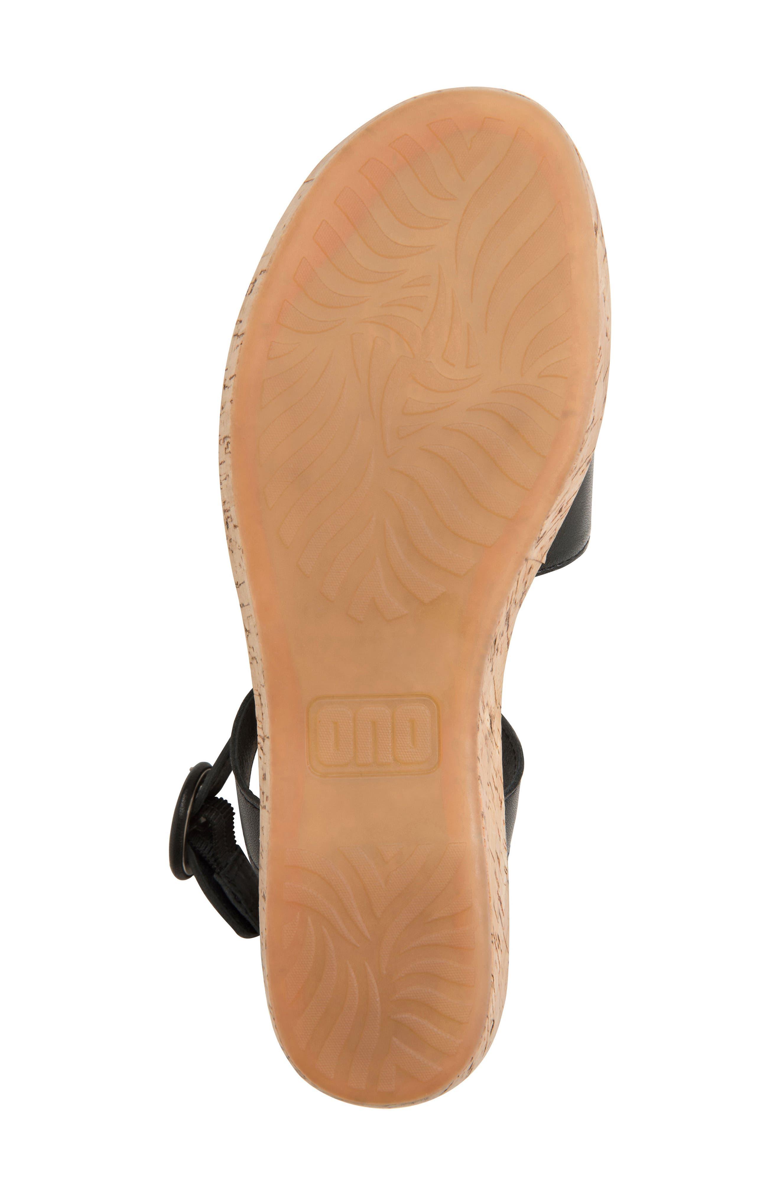 ONO, Dreamy Platform Wedge Sandal, Alternate thumbnail 6, color, BLACK LEATHER