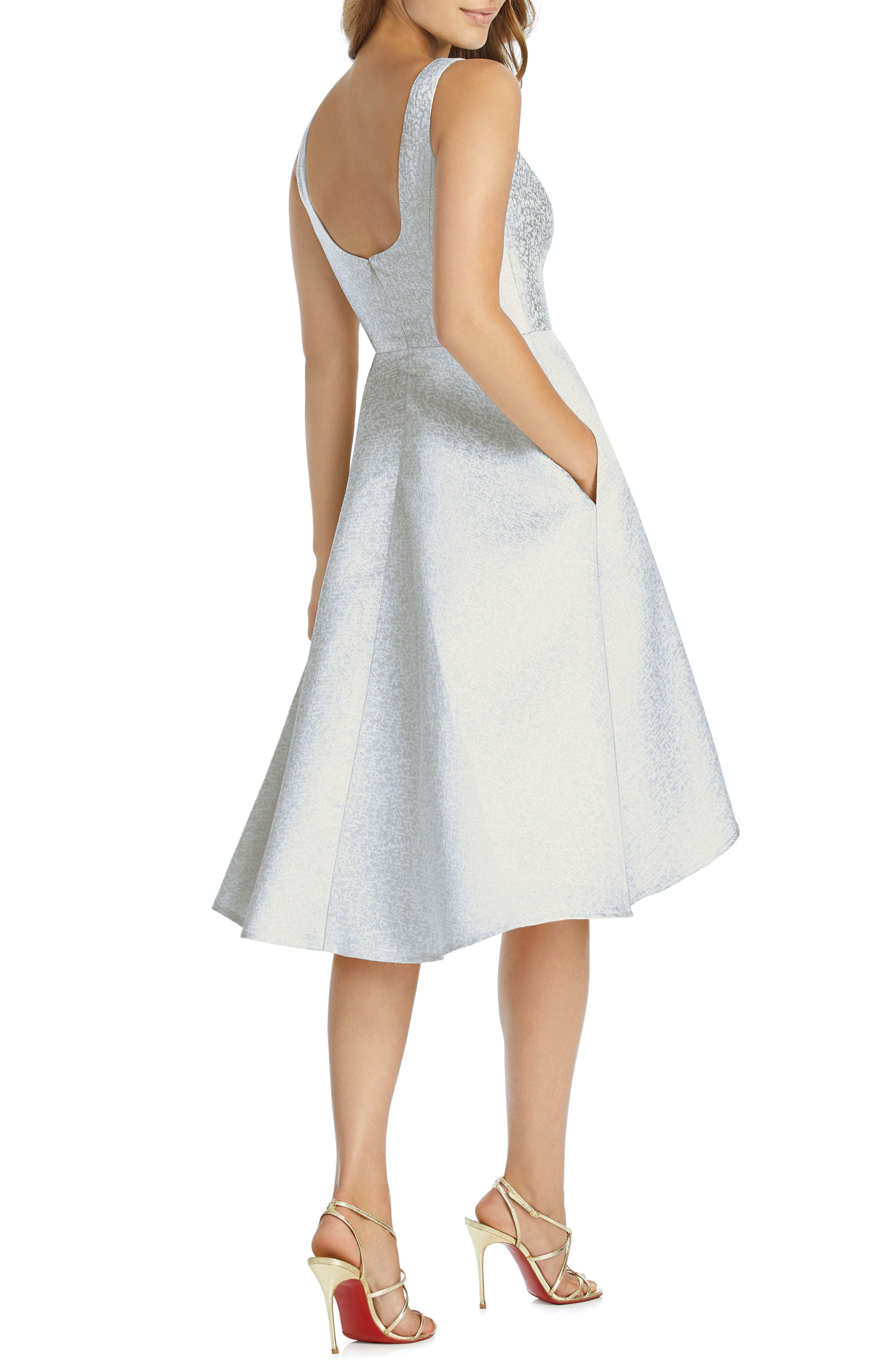 DESSY COLLECTION, Sateen High/Low Cocktail Dress, Alternate thumbnail 2, color, CLOUDY GOLD