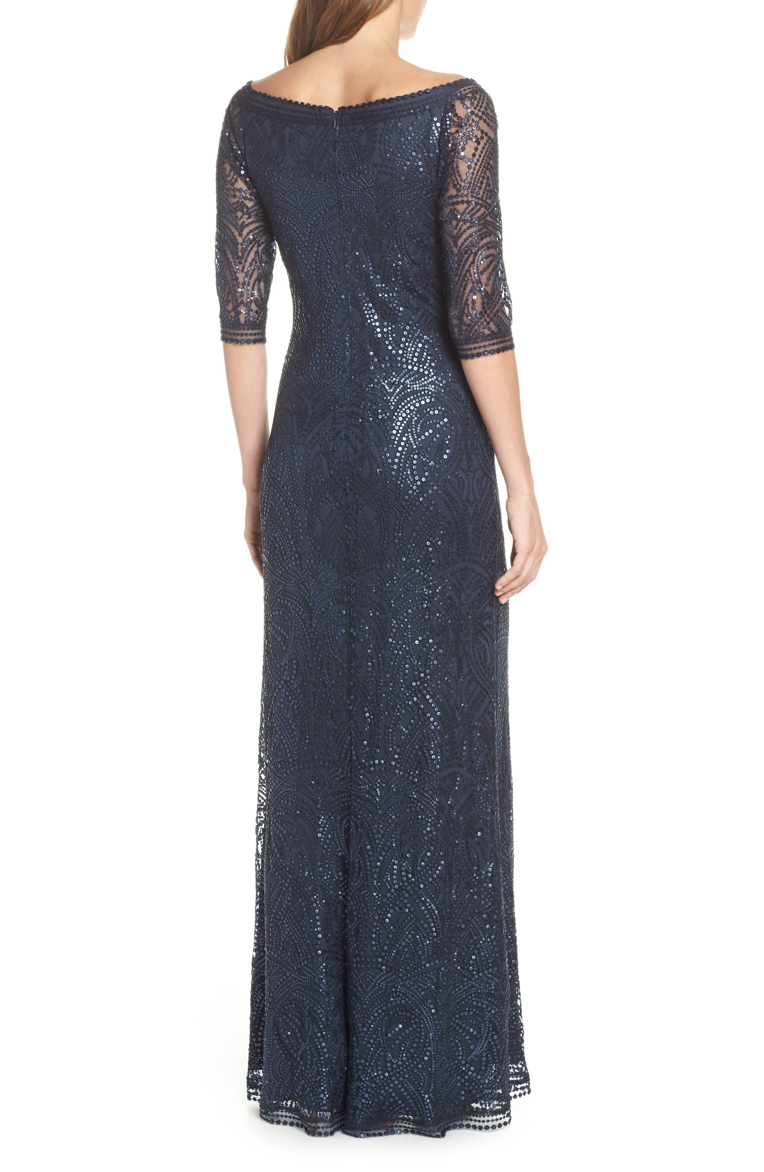 TADASHI SHOJI, Sequin Off the Shoulder Evening Dress, Alternate thumbnail 2, color, 410