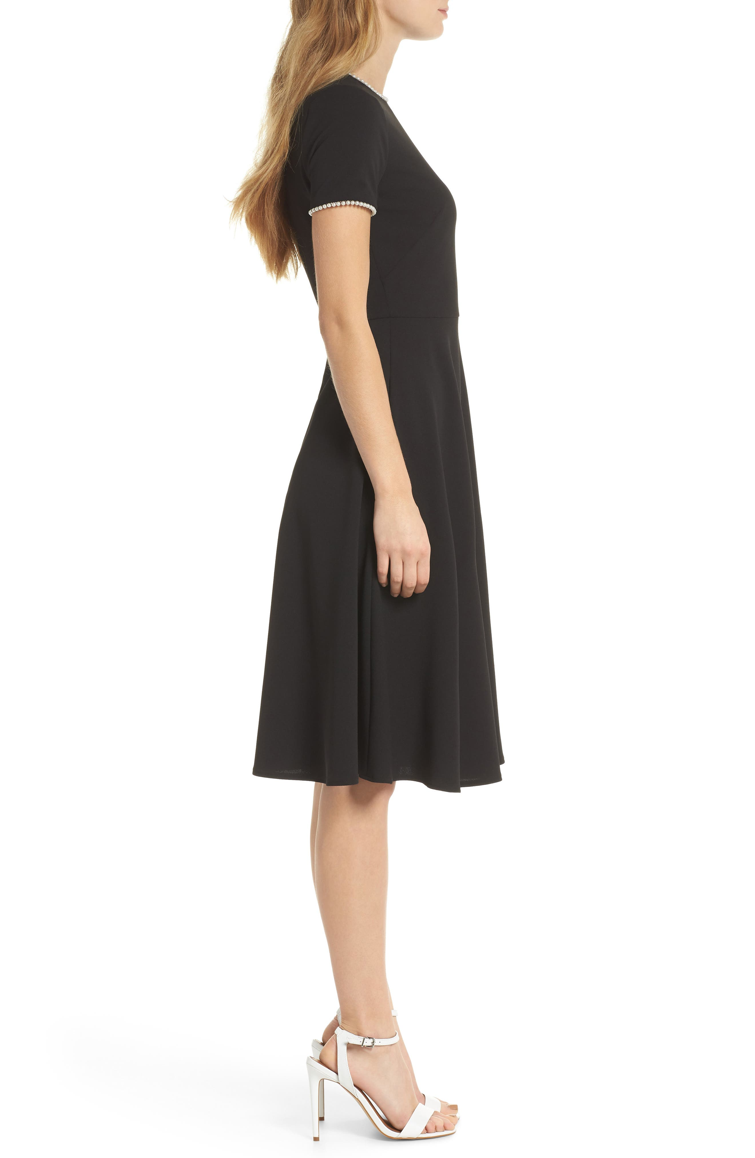 GAL MEETS GLAM COLLECTION, Victoria Pearly Trim Fit & Flare Cocktail Dress, Alternate thumbnail 4, color, BLACK