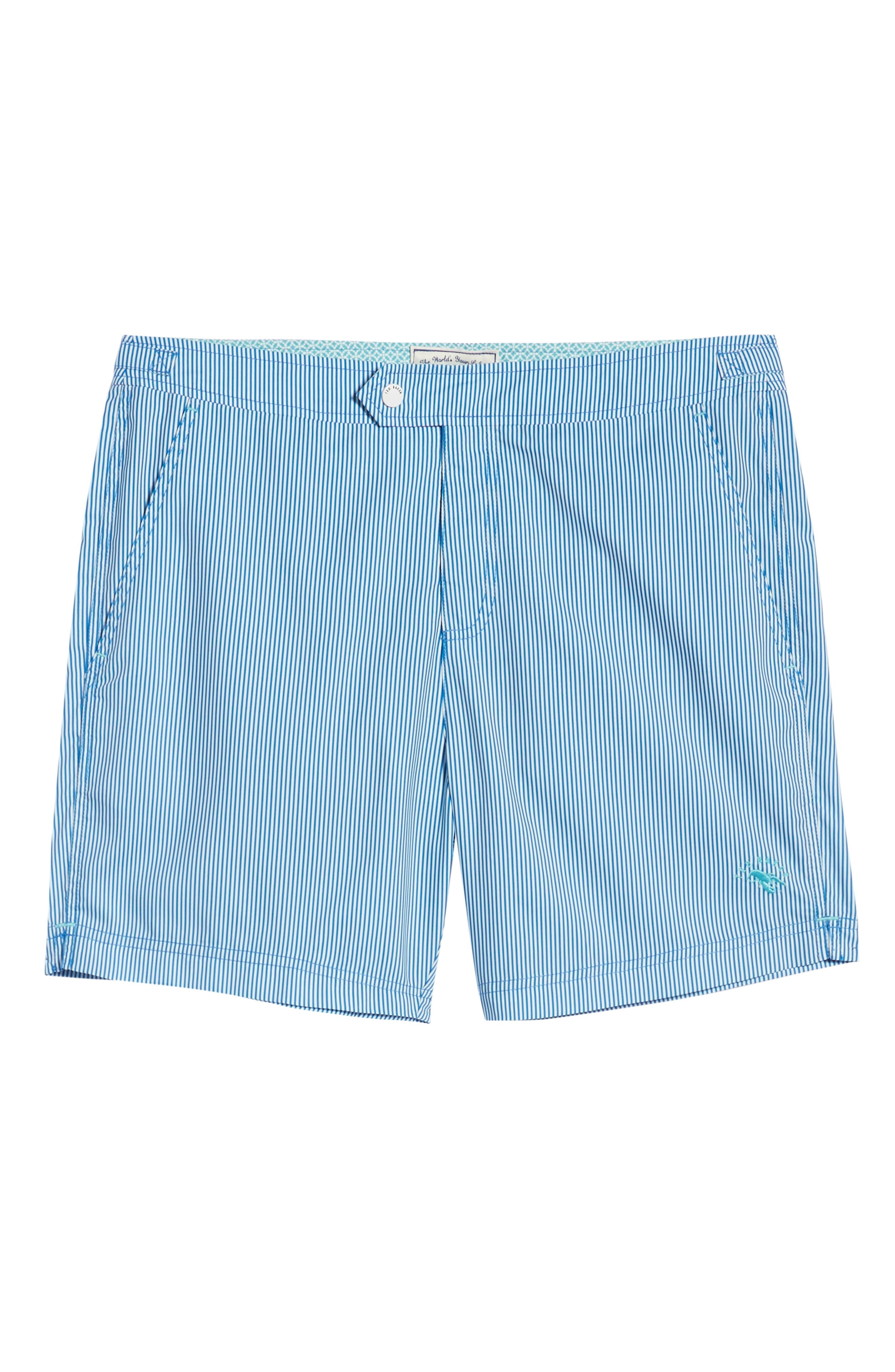 TED BAKER LONDON, Seel Stripe Swim Trunks, Alternate thumbnail 6, color, BLUE