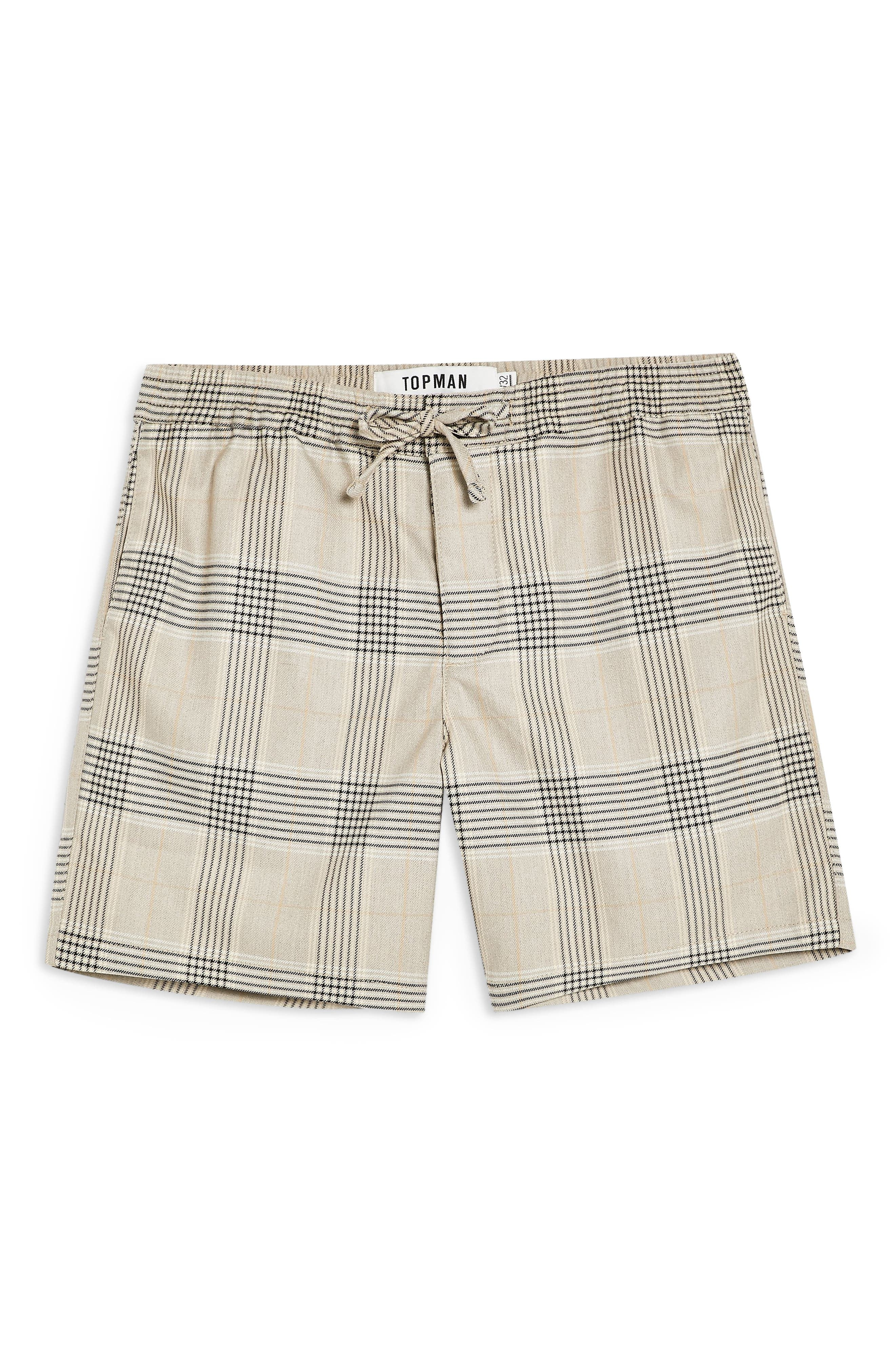 TOPMAN, Check Print Shorts, Alternate thumbnail 4, color, STONE
