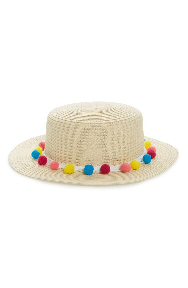 f50f8745 Pom Band Straw Boater Hat, Main, color, 250