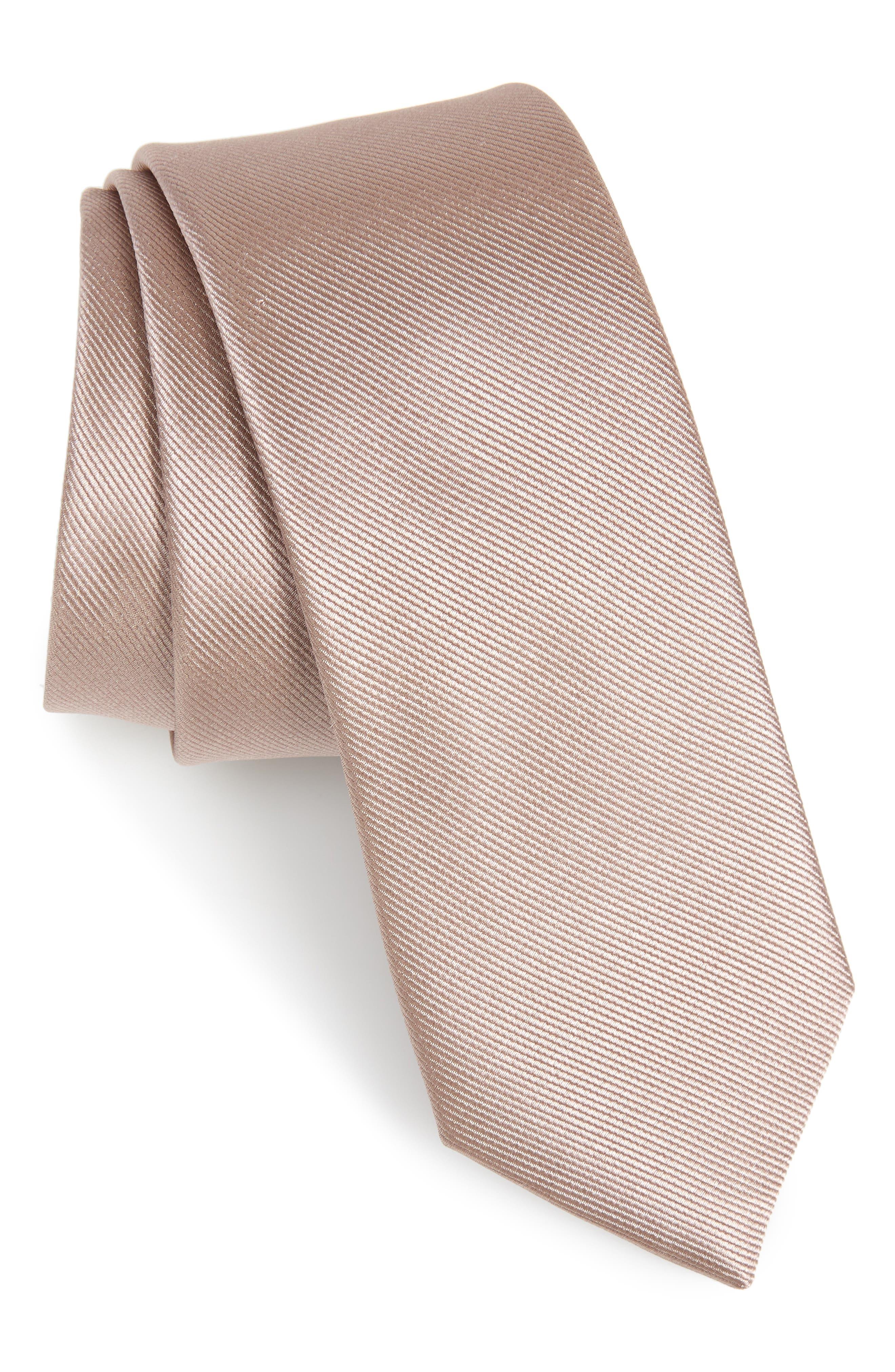 THE TIE BAR Solid Silk Tie, Main, color, SANDSTONE