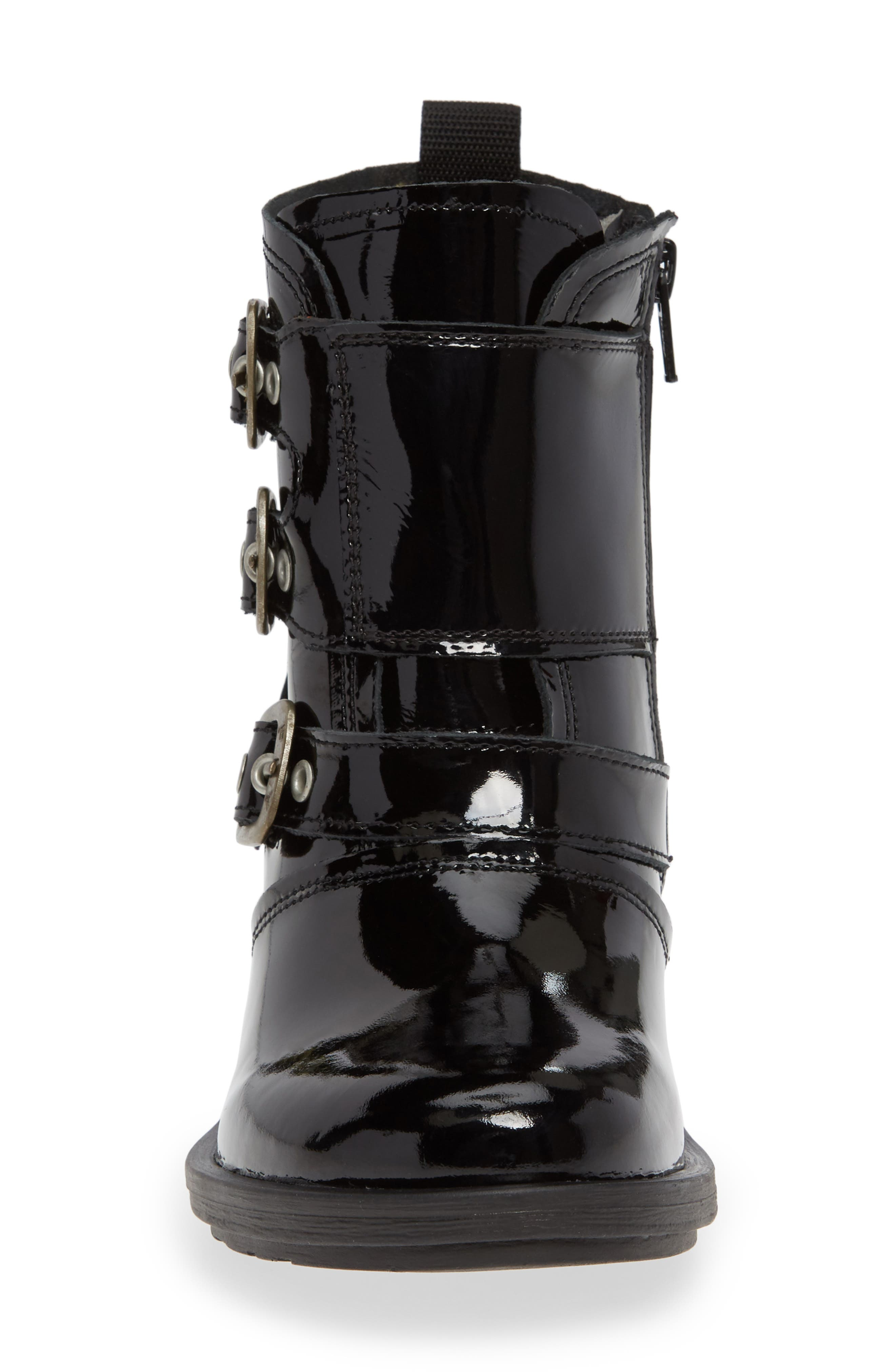 FLY LONDON, Crip Buckle Boot, Alternate thumbnail 4, color, BLACK PATENT LEATHER