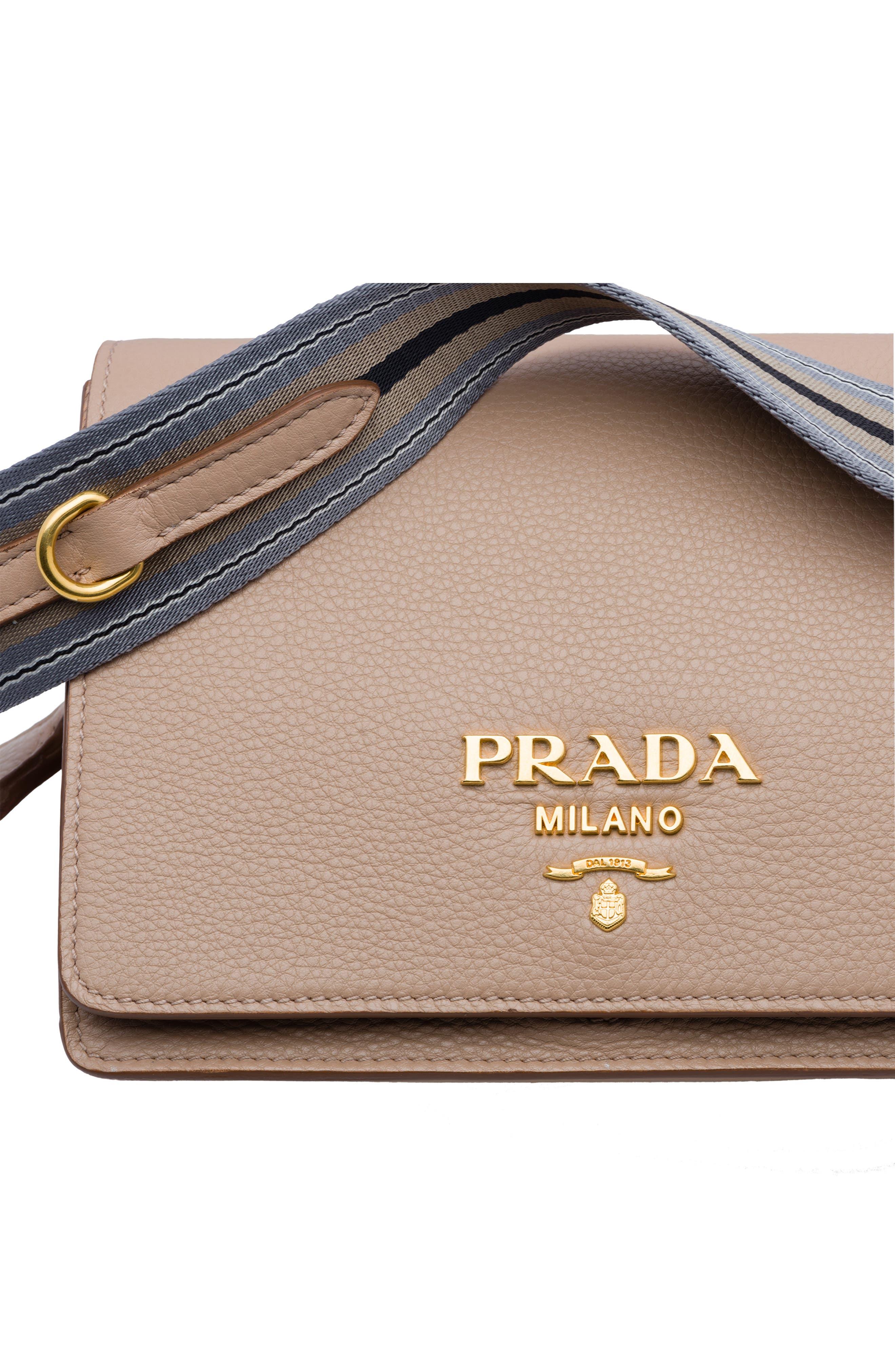 PRADA, Vitello Daino Double Compartment Leather Shoulder Bag, Alternate thumbnail 6, color, CAMMEO