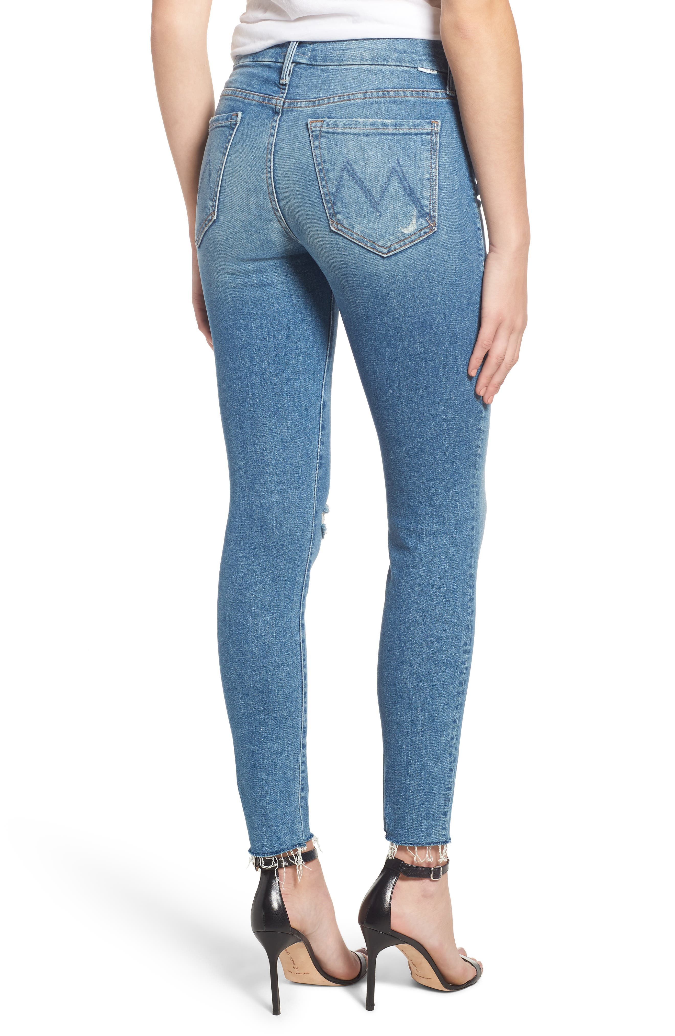 MOTHER, The Looker Frayed Ankle Skinny Jeans, Alternate thumbnail 2, color, LOVE GUN