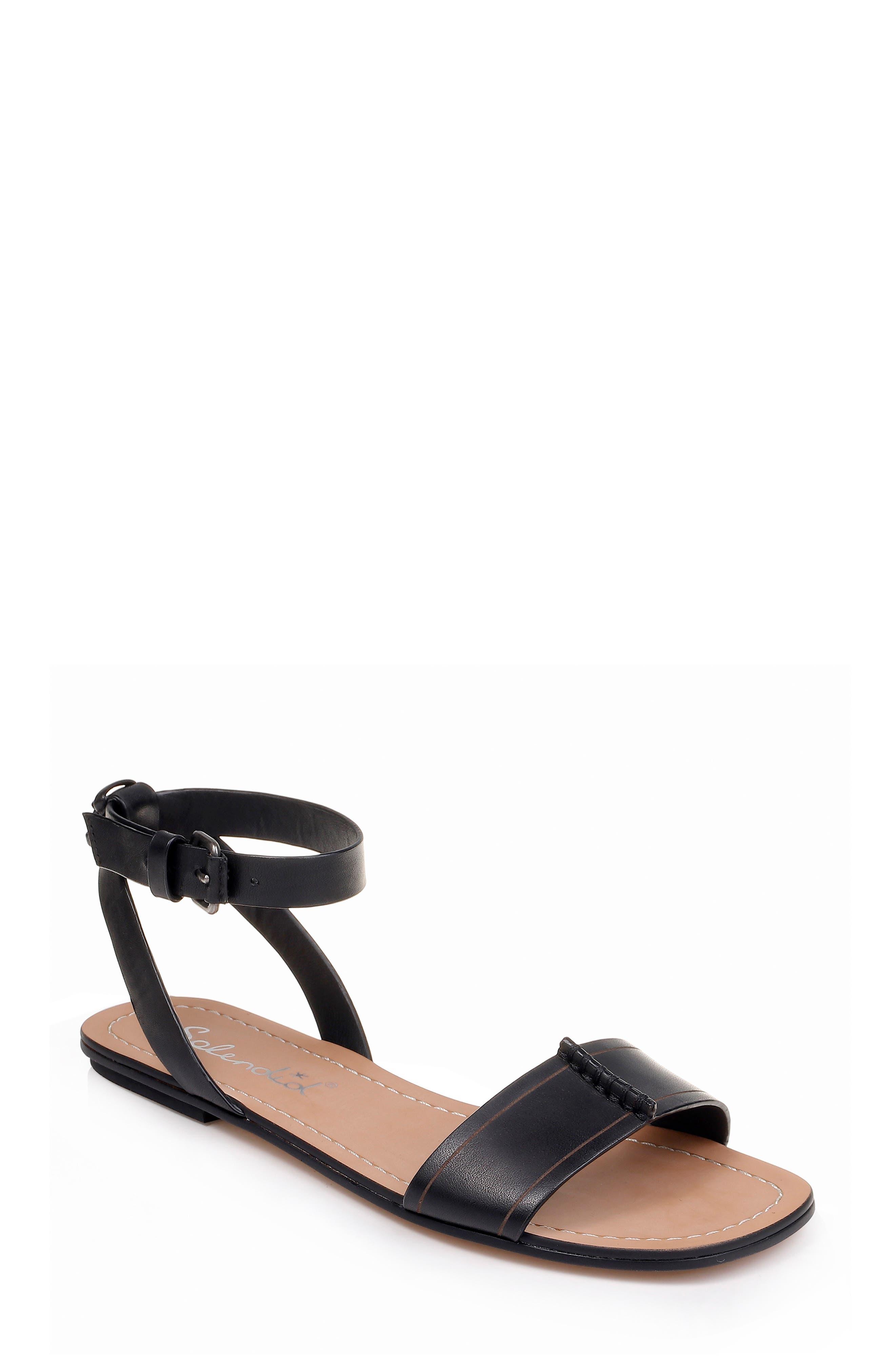 SPLENDID, Tabitha Ankle Strap Flat Sandal, Main thumbnail 1, color, BLACK LEATHER