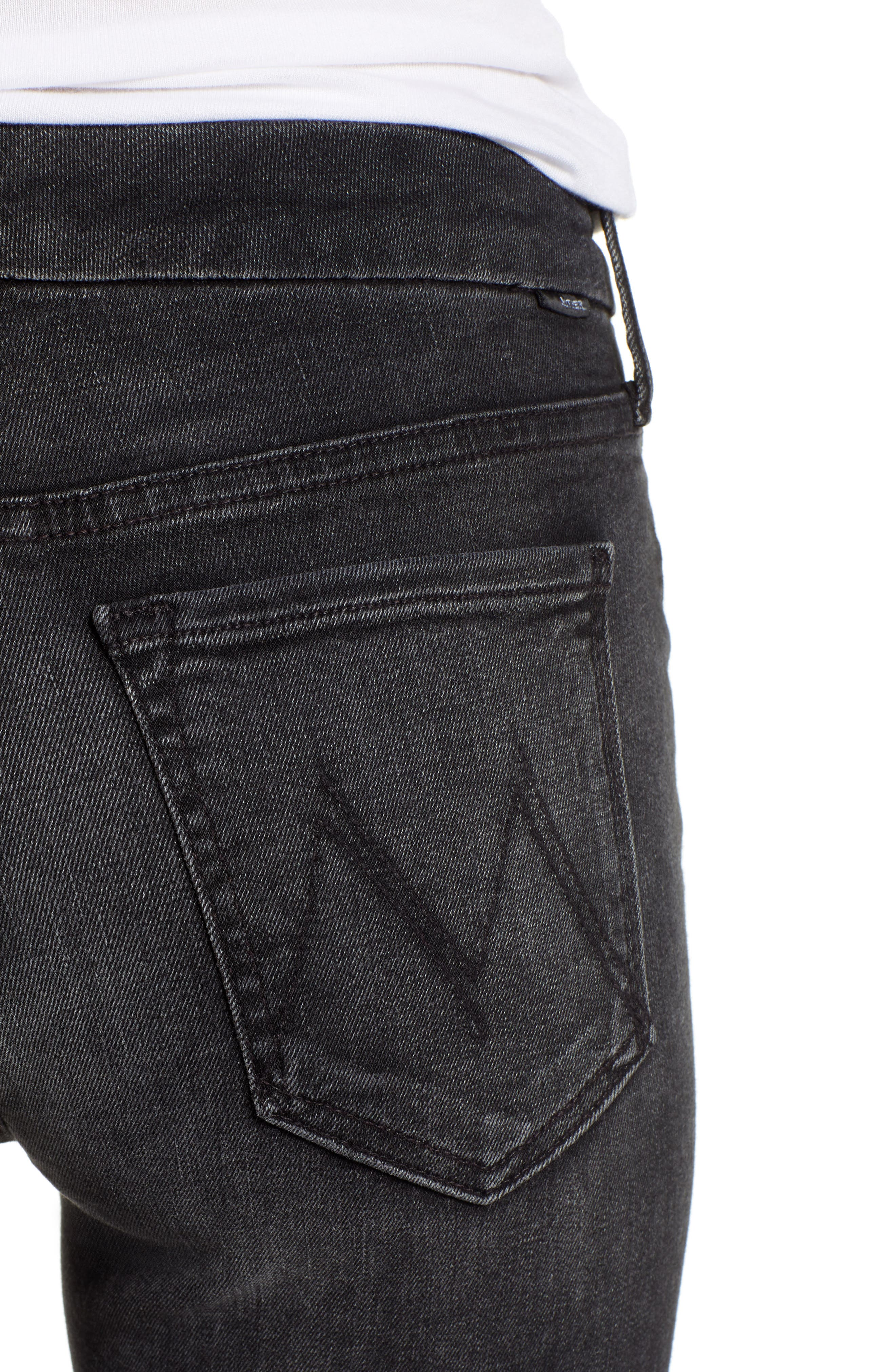MOTHER, The Looker Mid Rise Skinny Jeans, Alternate thumbnail 5, color, 001