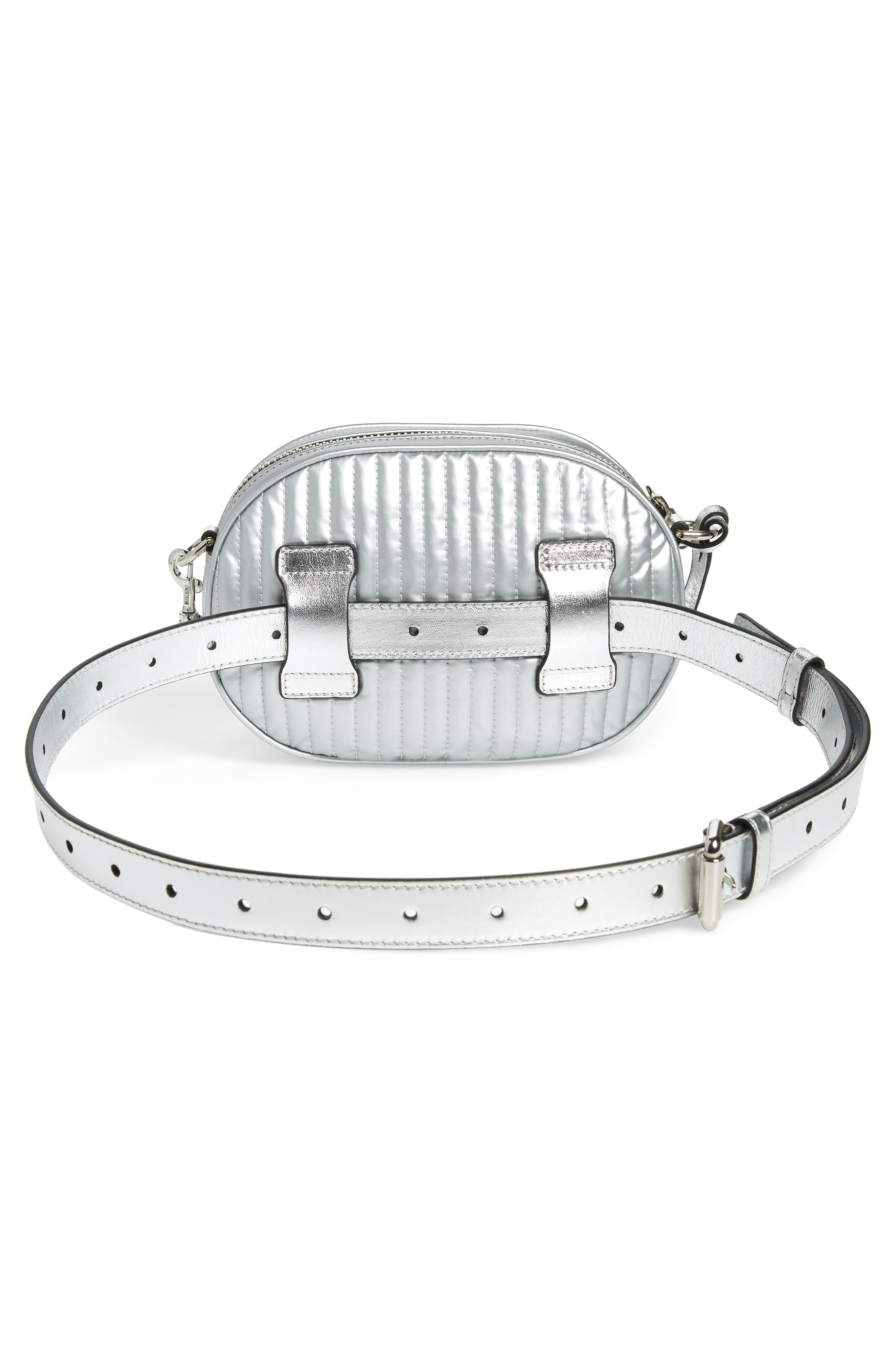 MOSCHINO, Silver Teddy Belt Bag, Alternate thumbnail 4, color, SILVER
