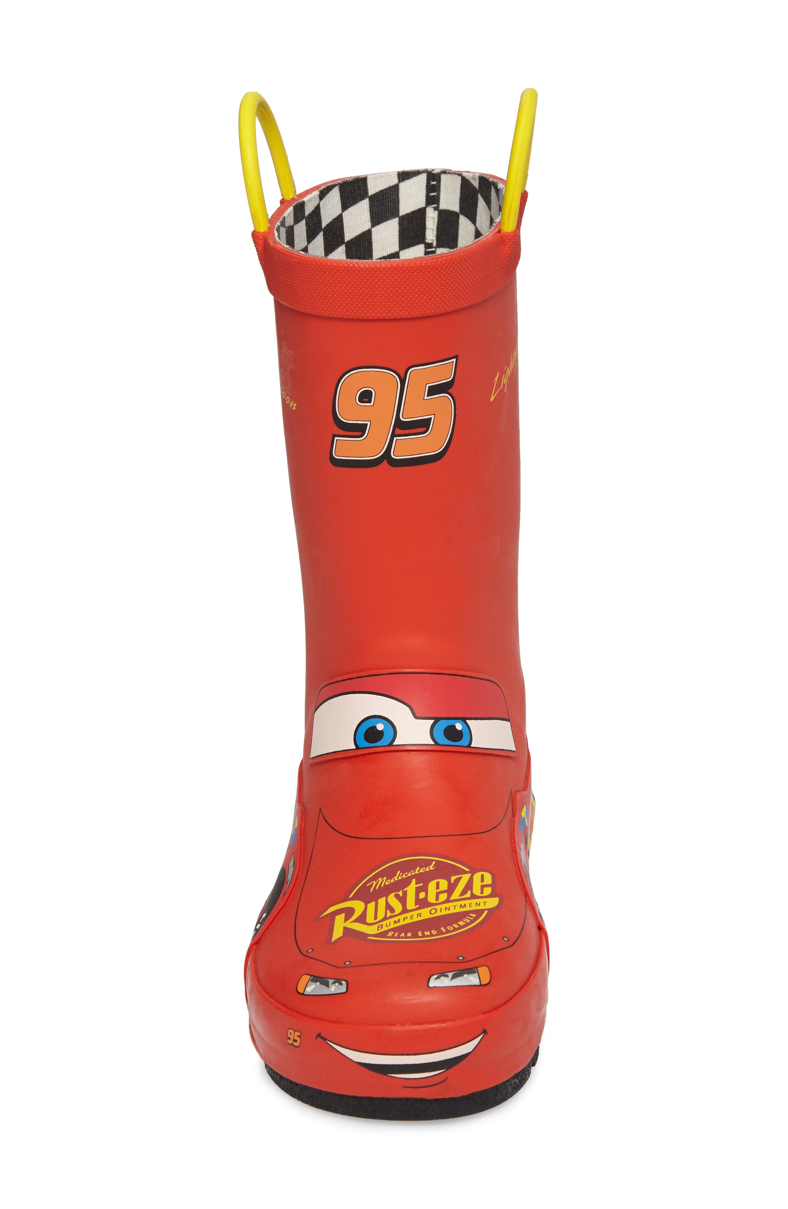 WESTERN CHIEF, Lightning McQueen Waterproof Rain Boot, Alternate thumbnail 4, color, RED