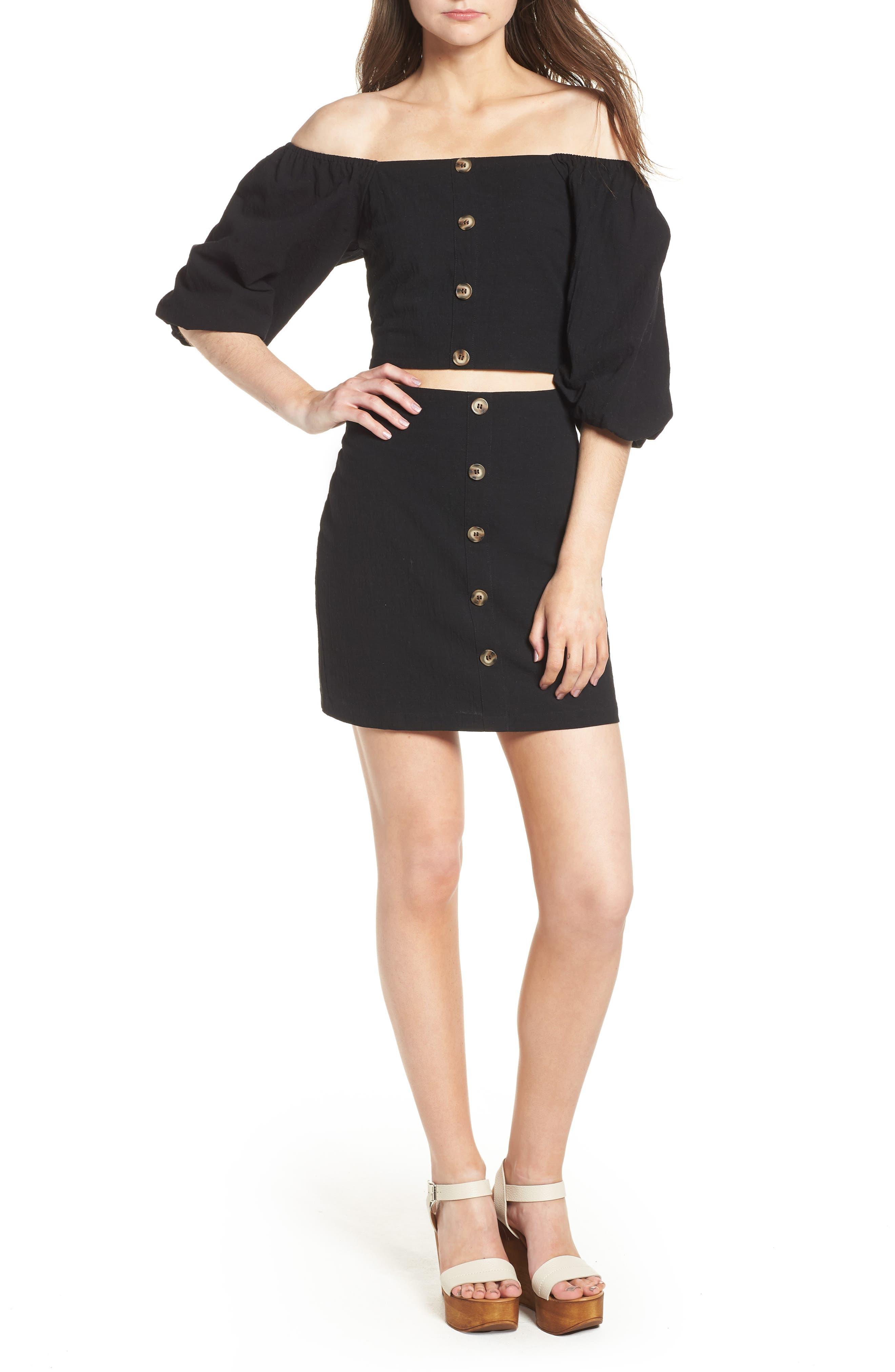 J.O.A., Button Front Miniskirt, Alternate thumbnail 7, color, 001