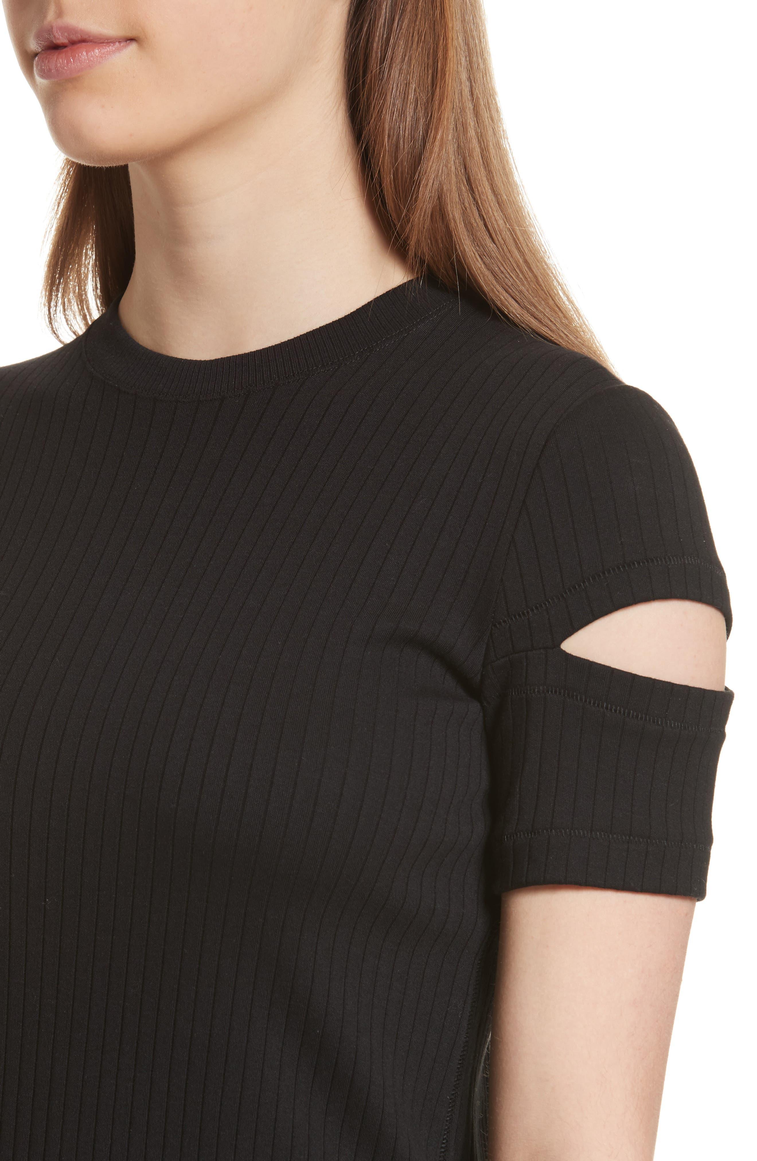 HELMUT LANG, Ribbed Slash Sleeve Dress, Alternate thumbnail 5, color, BLACK