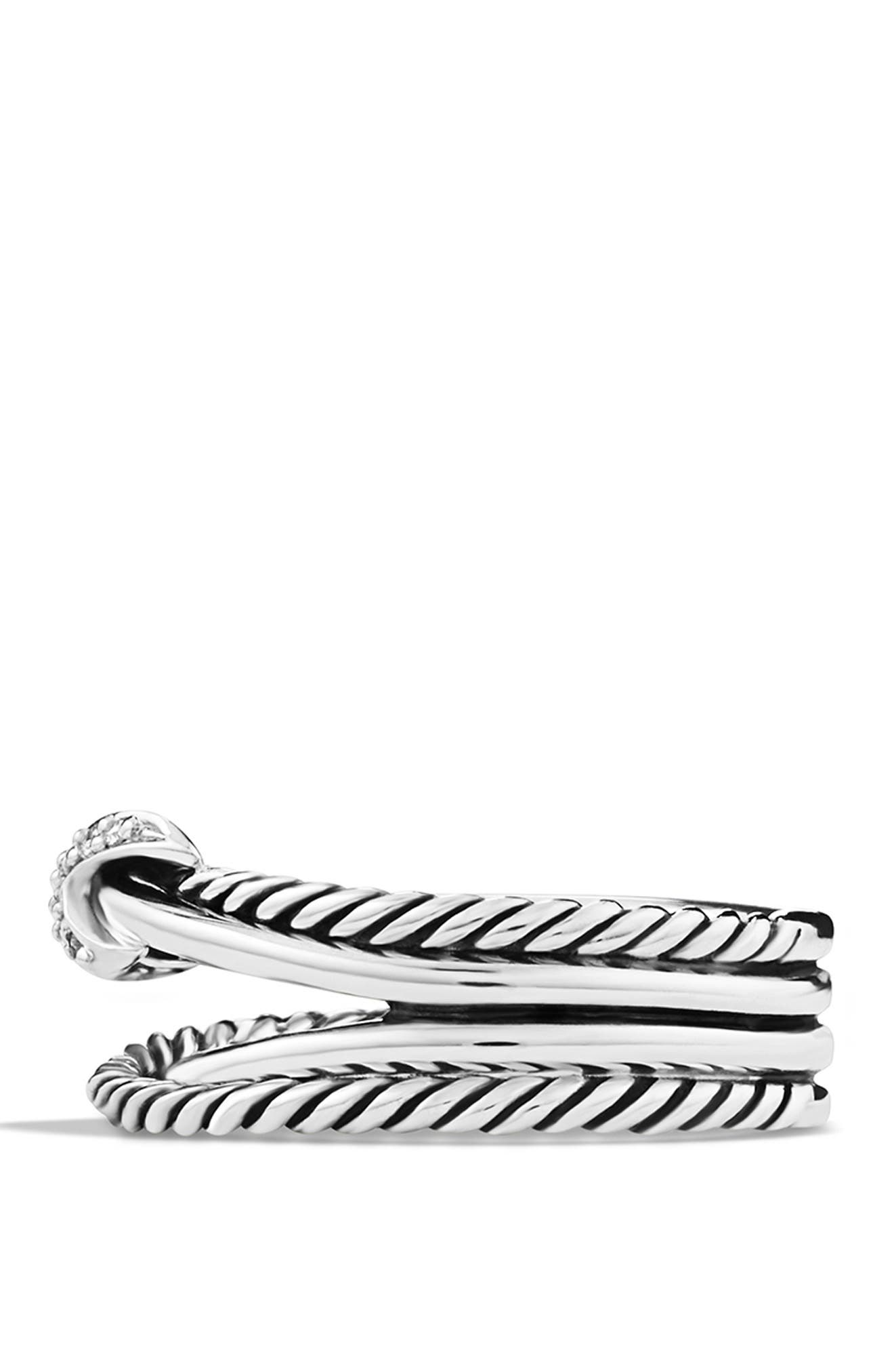 DAVID YURMAN, 'X Crossover' Ring with Diamonds, Alternate thumbnail 3, color, DIAMOND