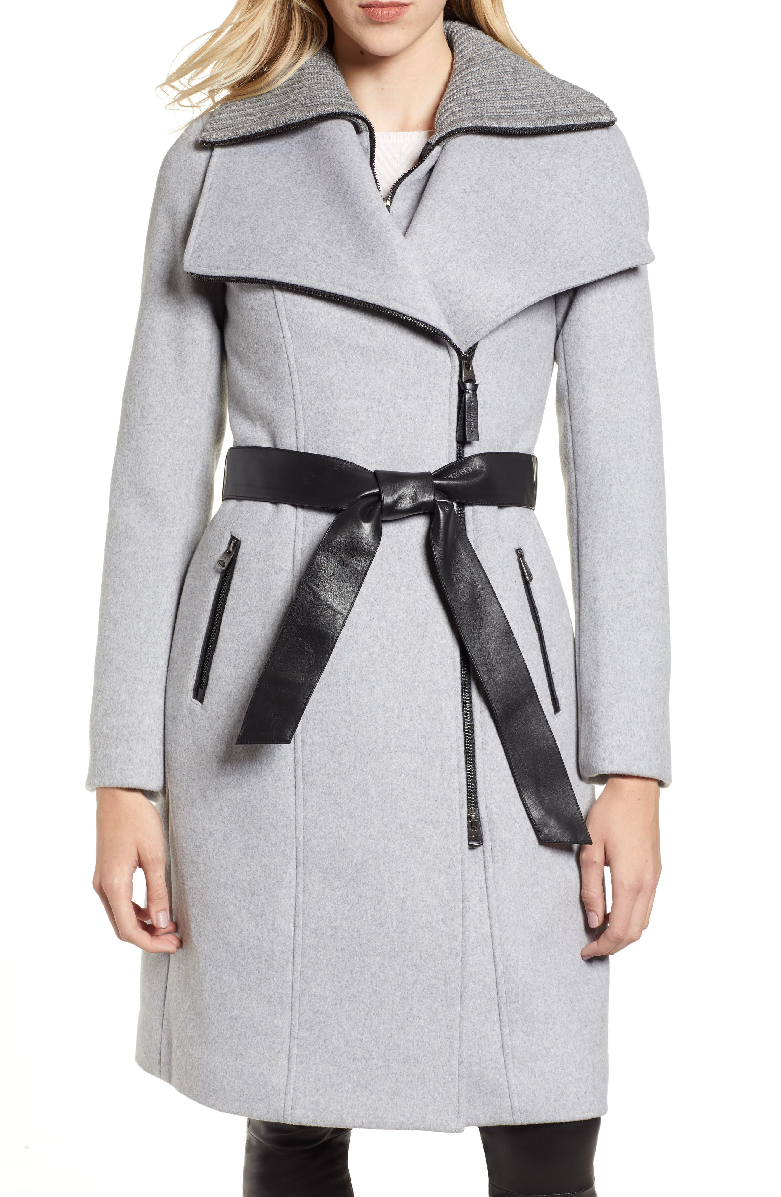 MACKAGE Nori Belted Wool Blend Coat, Main, color, LIGHT GREY