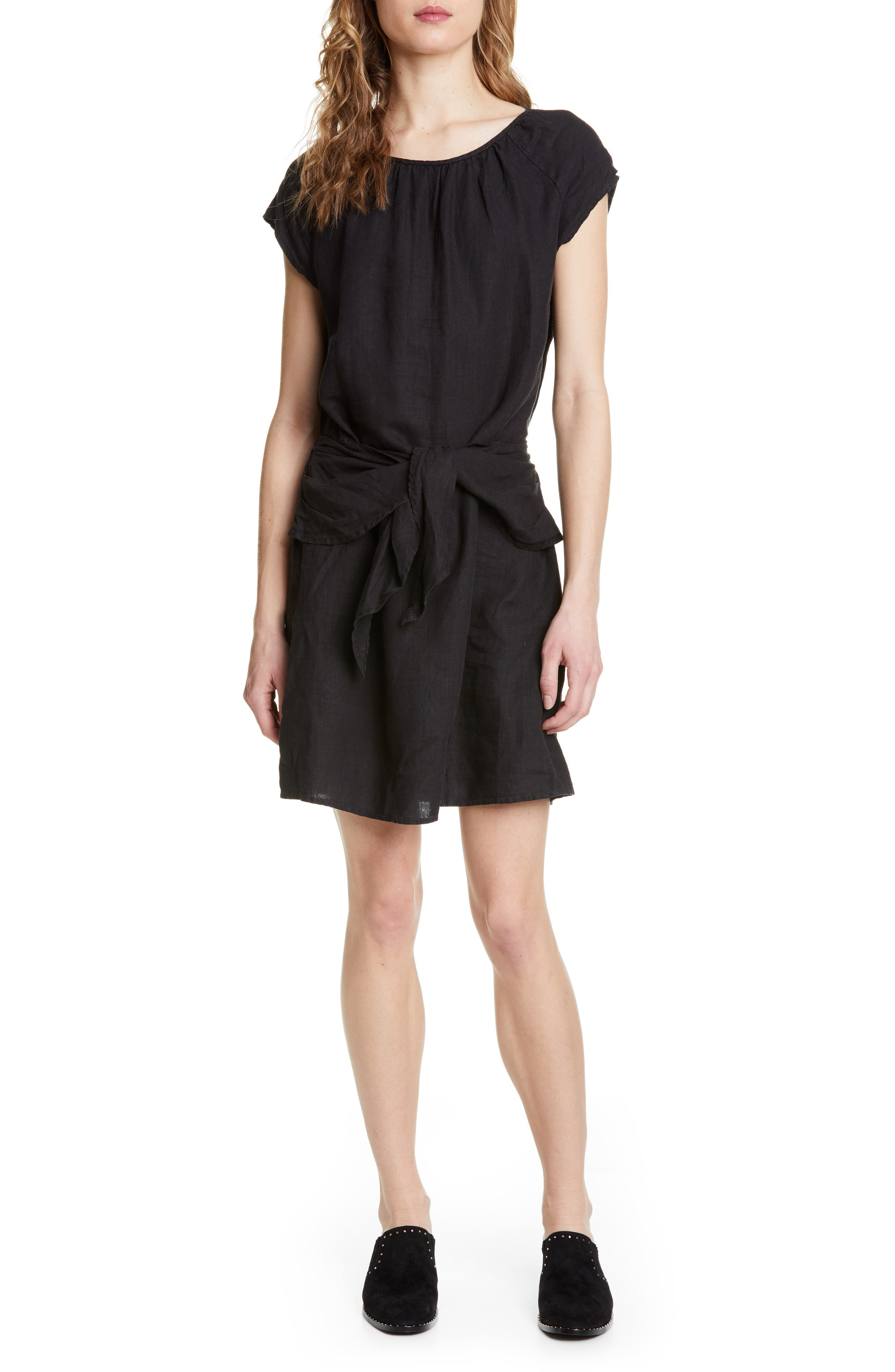 Joie Adoette Linen Minidress, Black