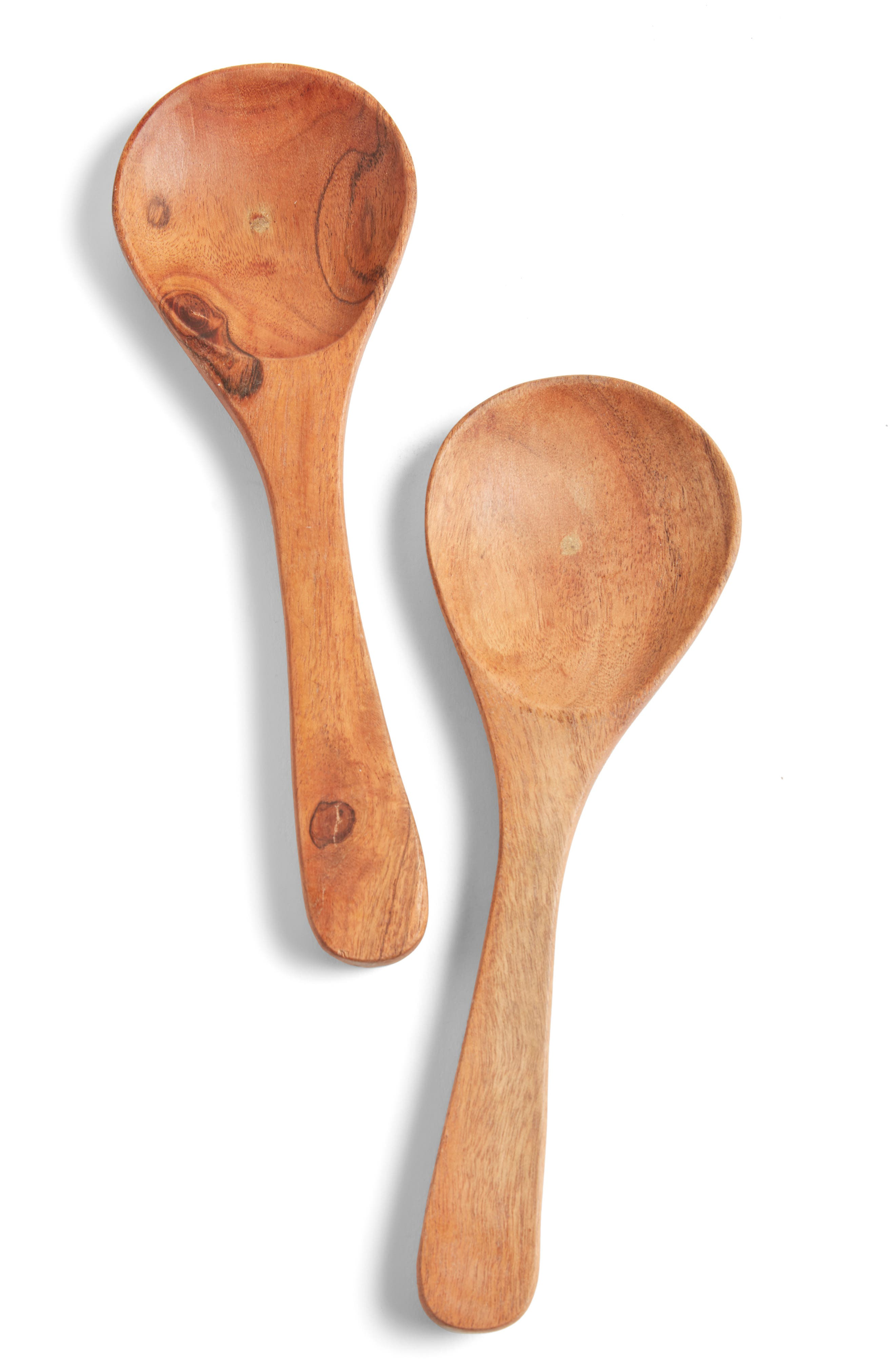 TREASURE & BOND Set of 2 Wooden Condiment Spoons, Main, color, BROWN